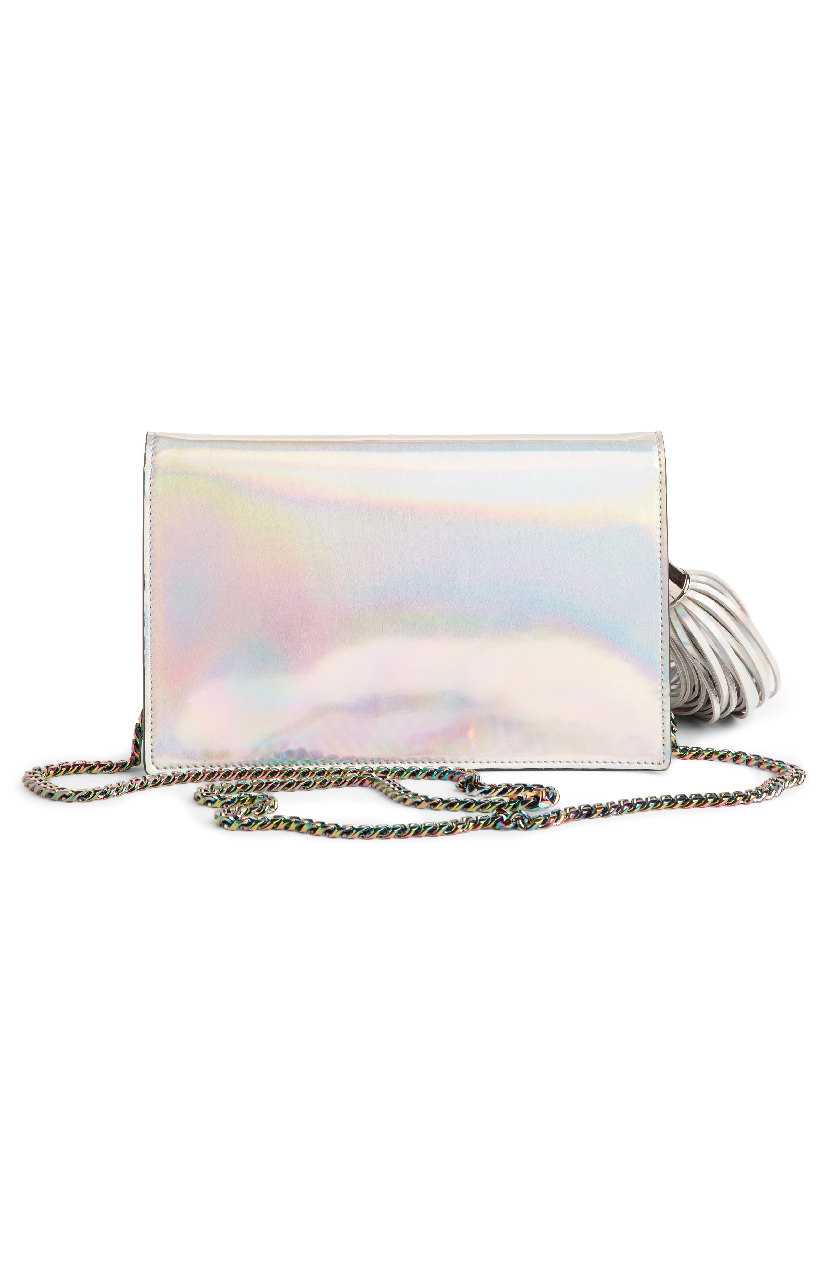 Mirrored Logo Leather Crossbody,                             Alternate thumbnail 2, color,                             SILVER