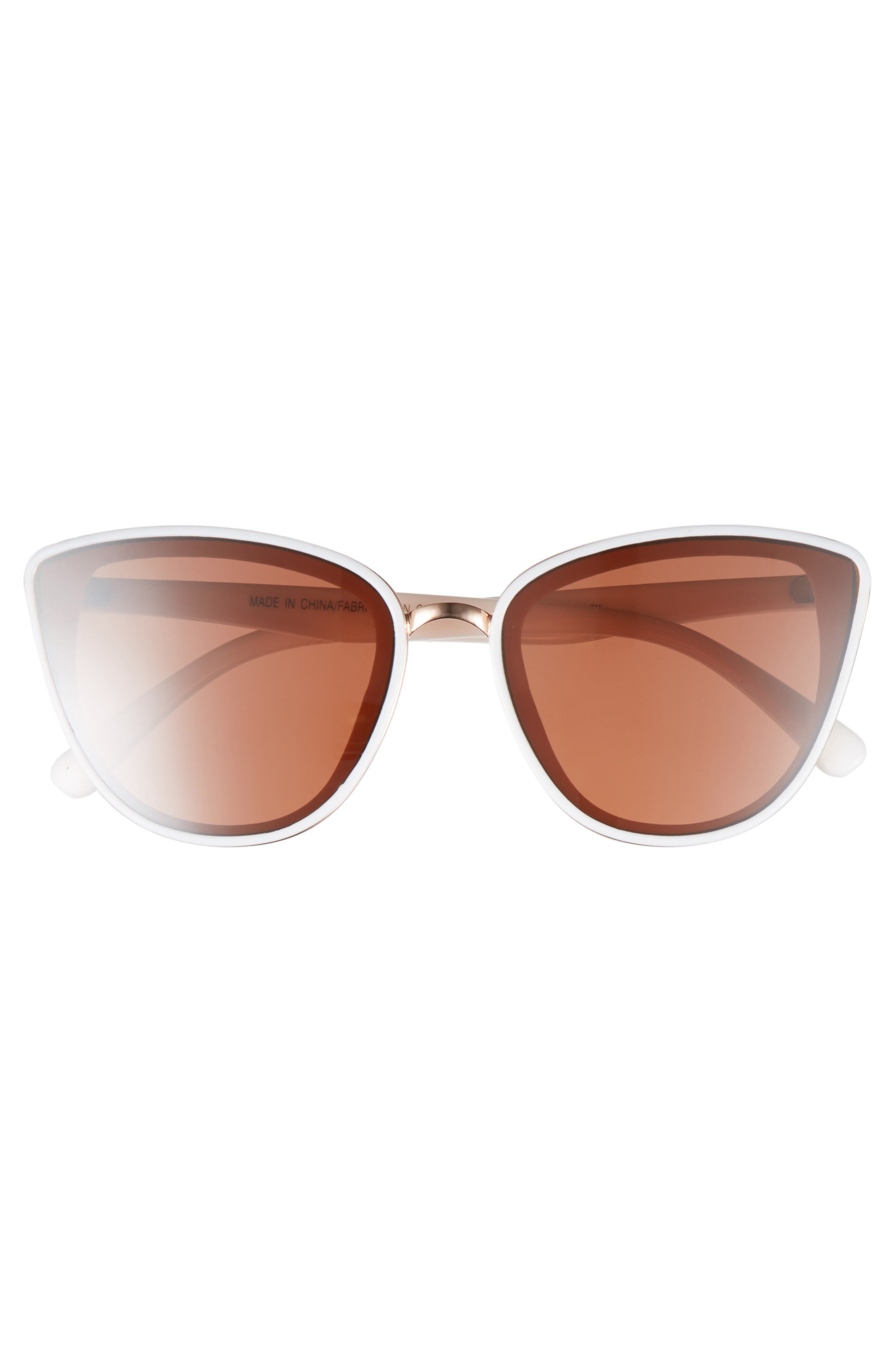 59mm Perfect Cat Eye Sunglasses,                             Alternate thumbnail 3, color,                             WHITE/ ROSE GOLD