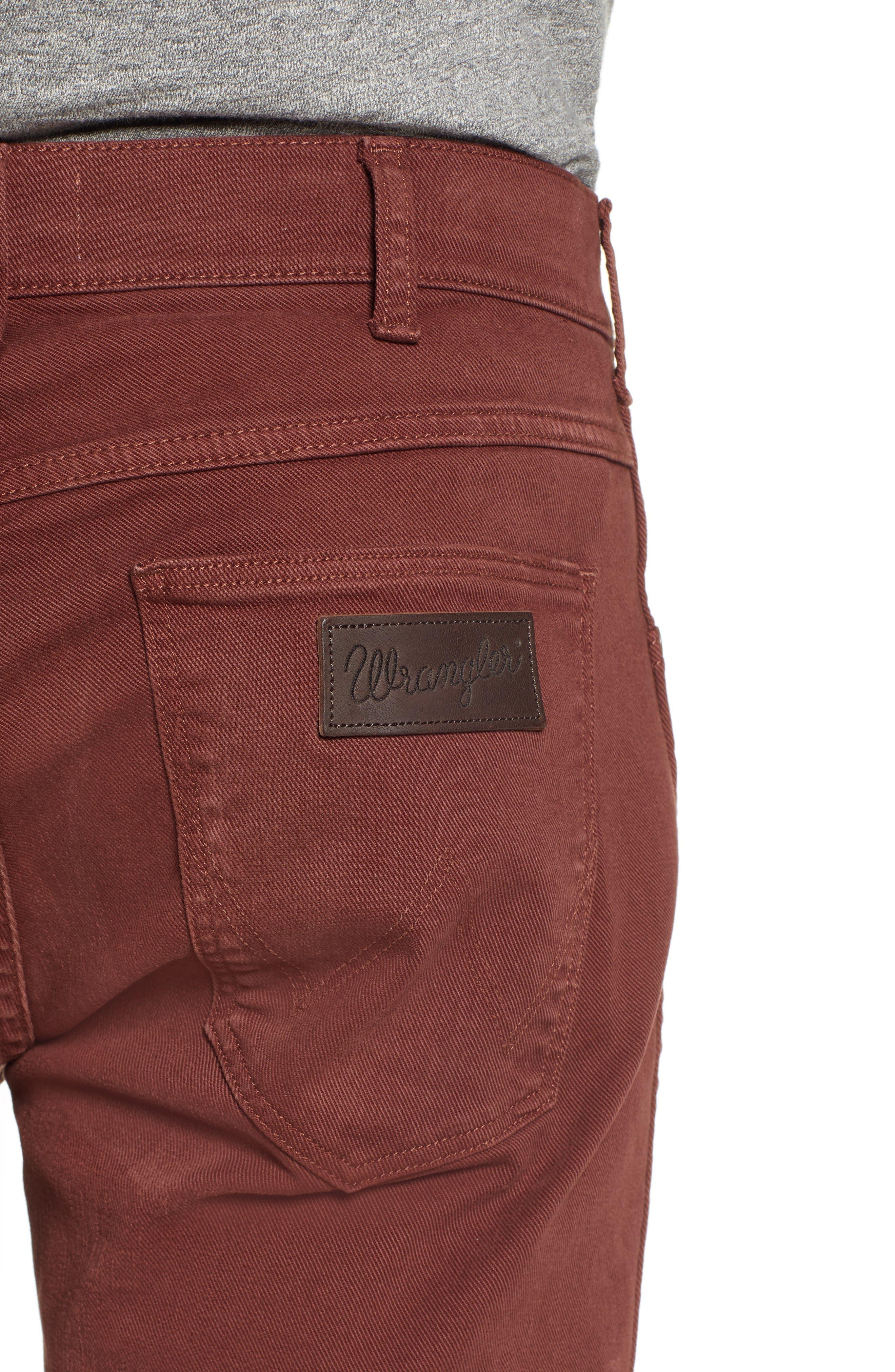 Greensboro Straight Leg Twill Pants,                             Alternate thumbnail 4, color,                             MAHOGANY RED