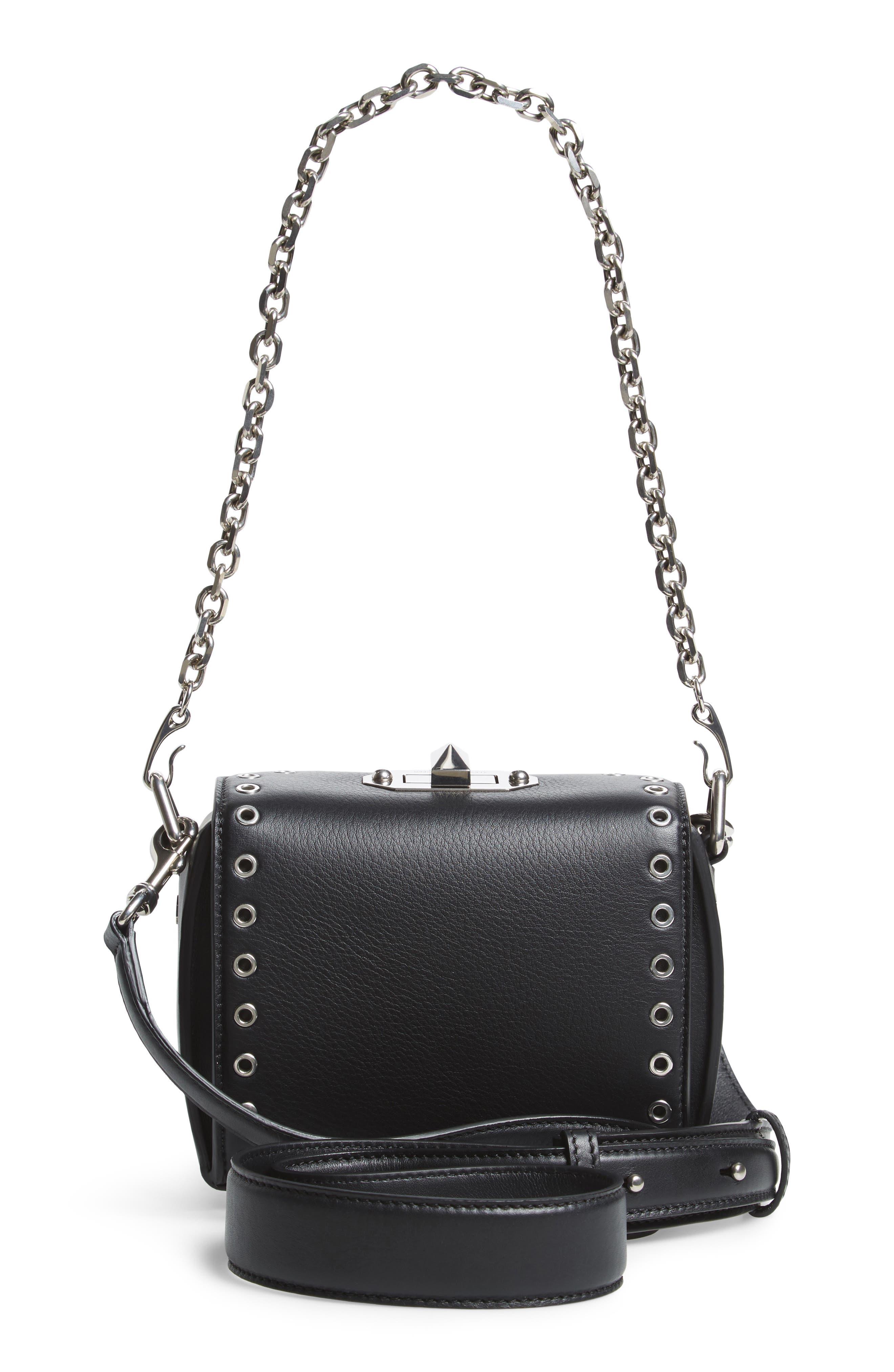Mini Box Grommet Leather Bag,                             Alternate thumbnail 3, color,                             001