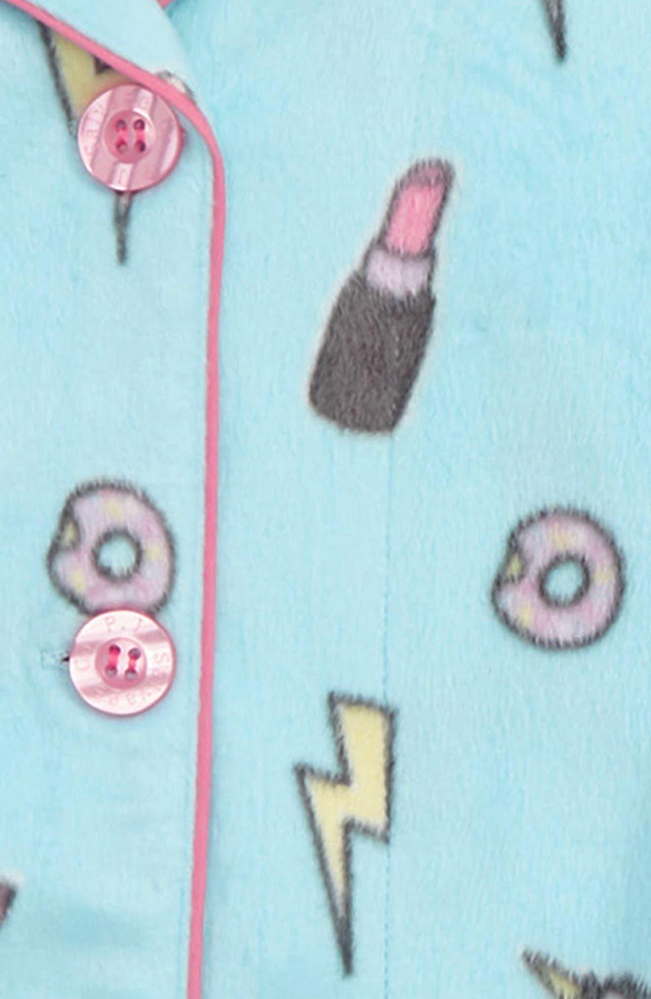 Girl Power Two-Piece Fleece Pajamas,                             Alternate thumbnail 2, color,                             AQUA