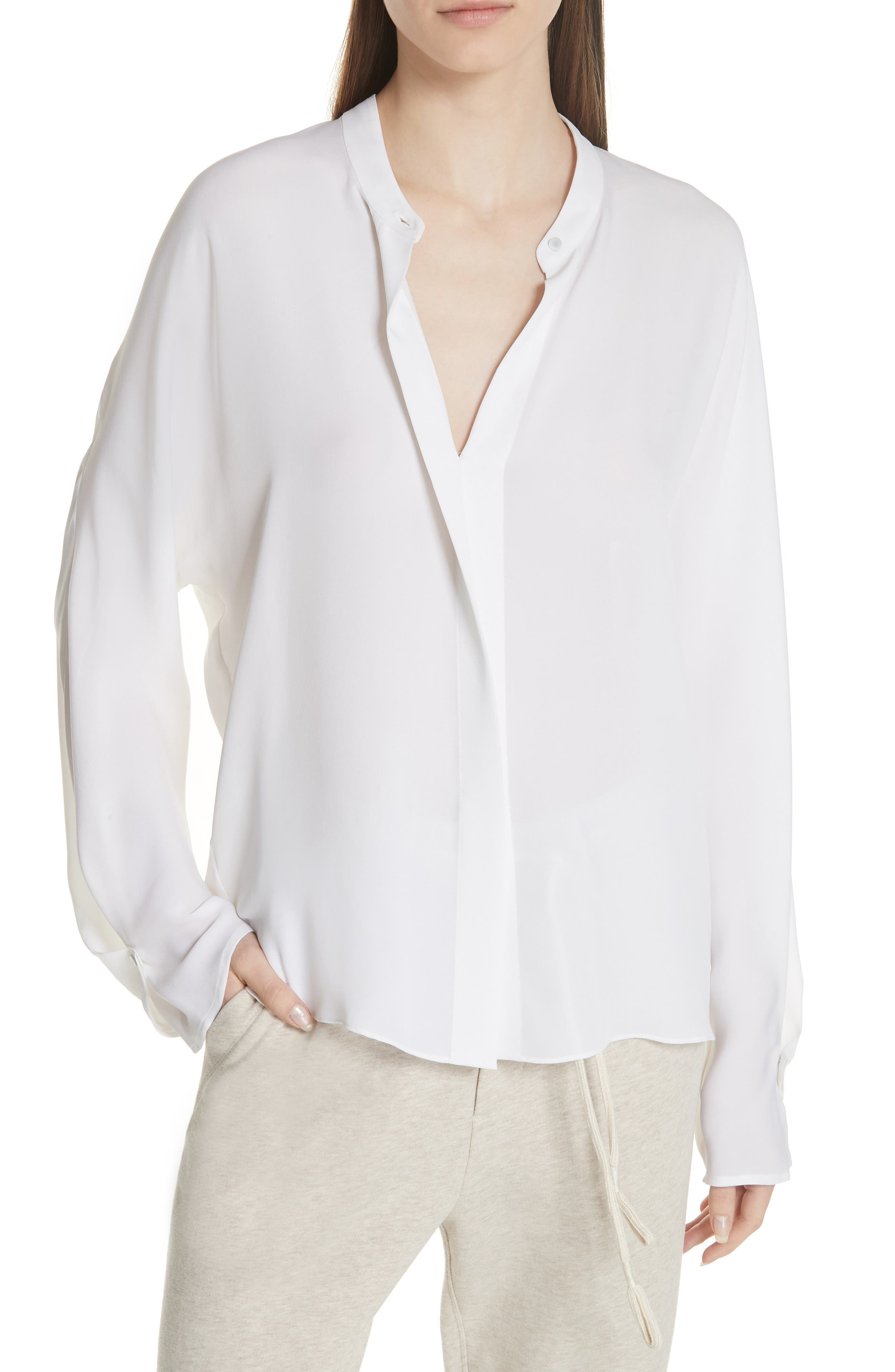 Envelope Sleeve Silk Blouse,                             Main thumbnail 1, color,                             OPTIC WHITE