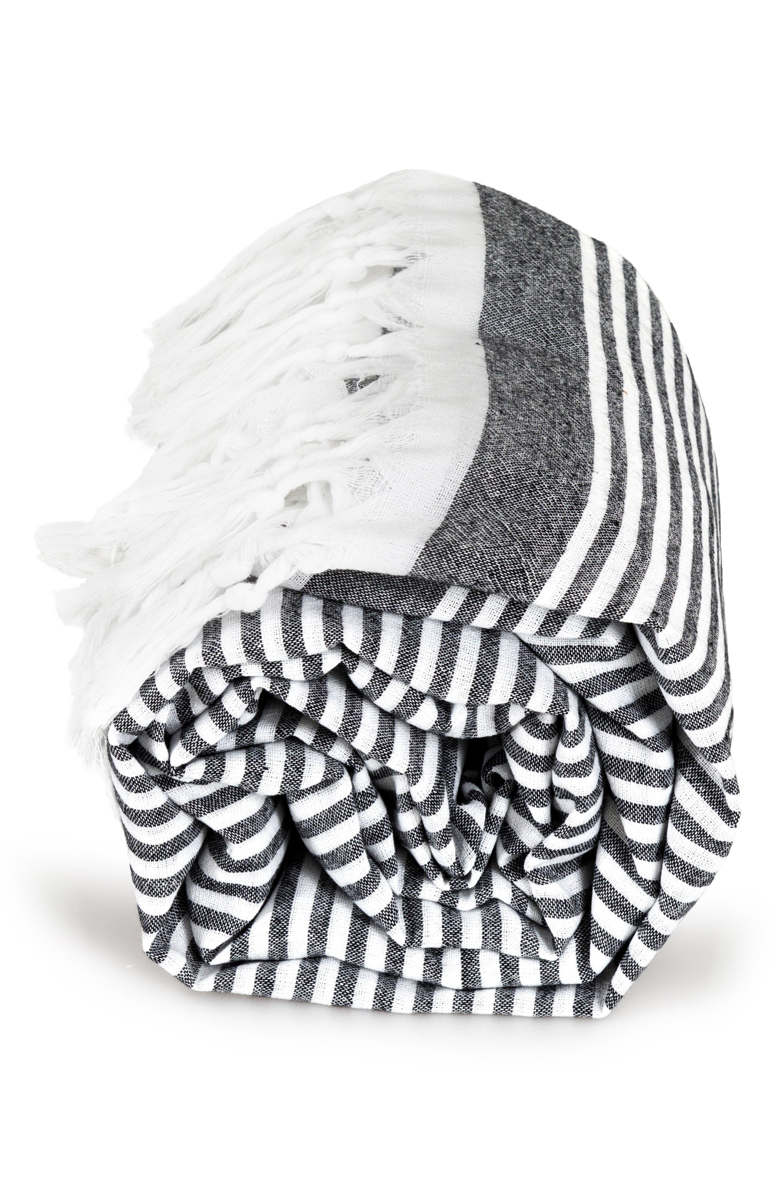 Soft Stripes Turkish Pestemal Towel,                             Alternate thumbnail 5, color,                             BLACK