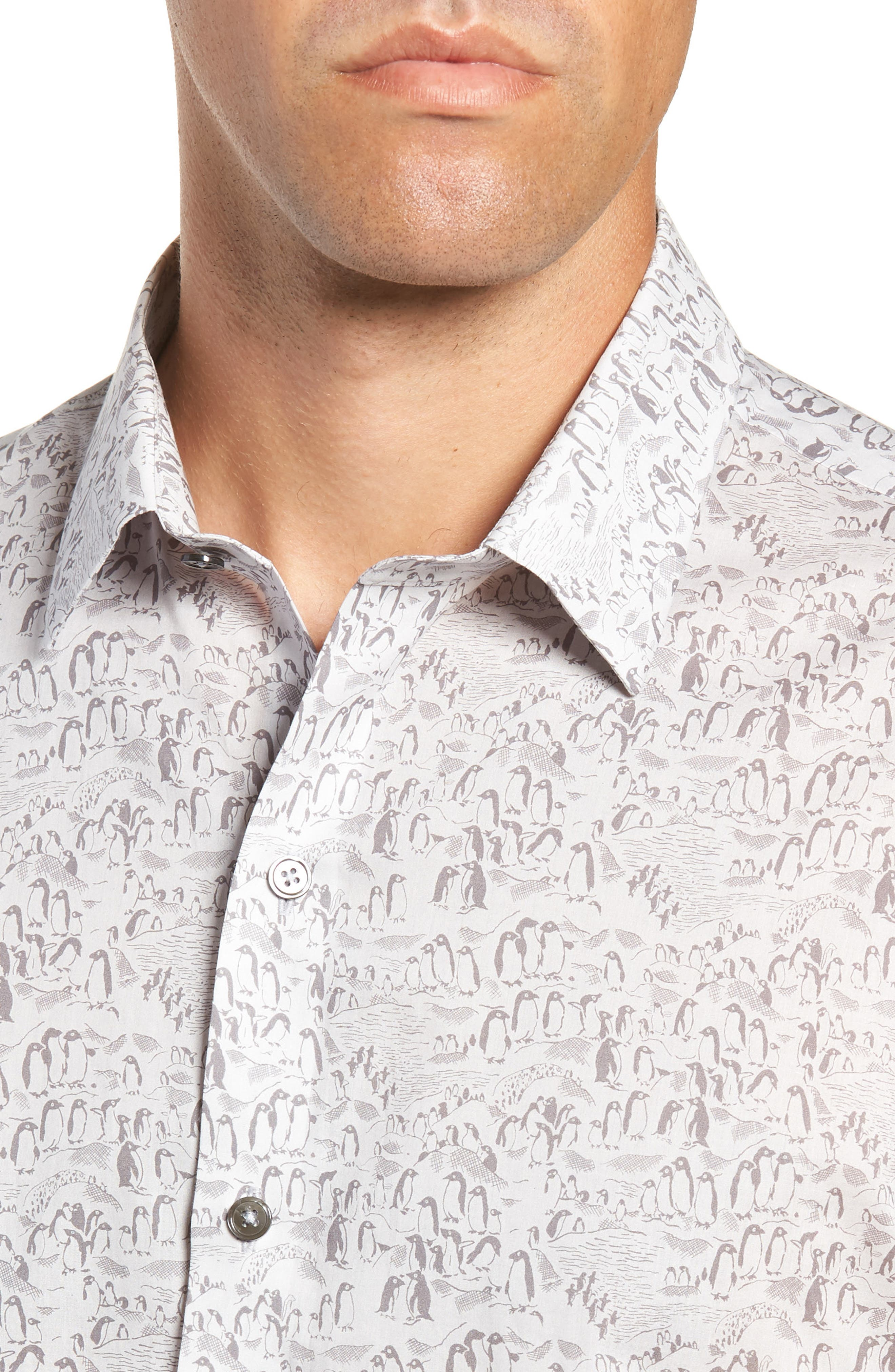 Burgess Regular Fit Sport Shirt,                             Alternate thumbnail 2, color,                             PEWTER