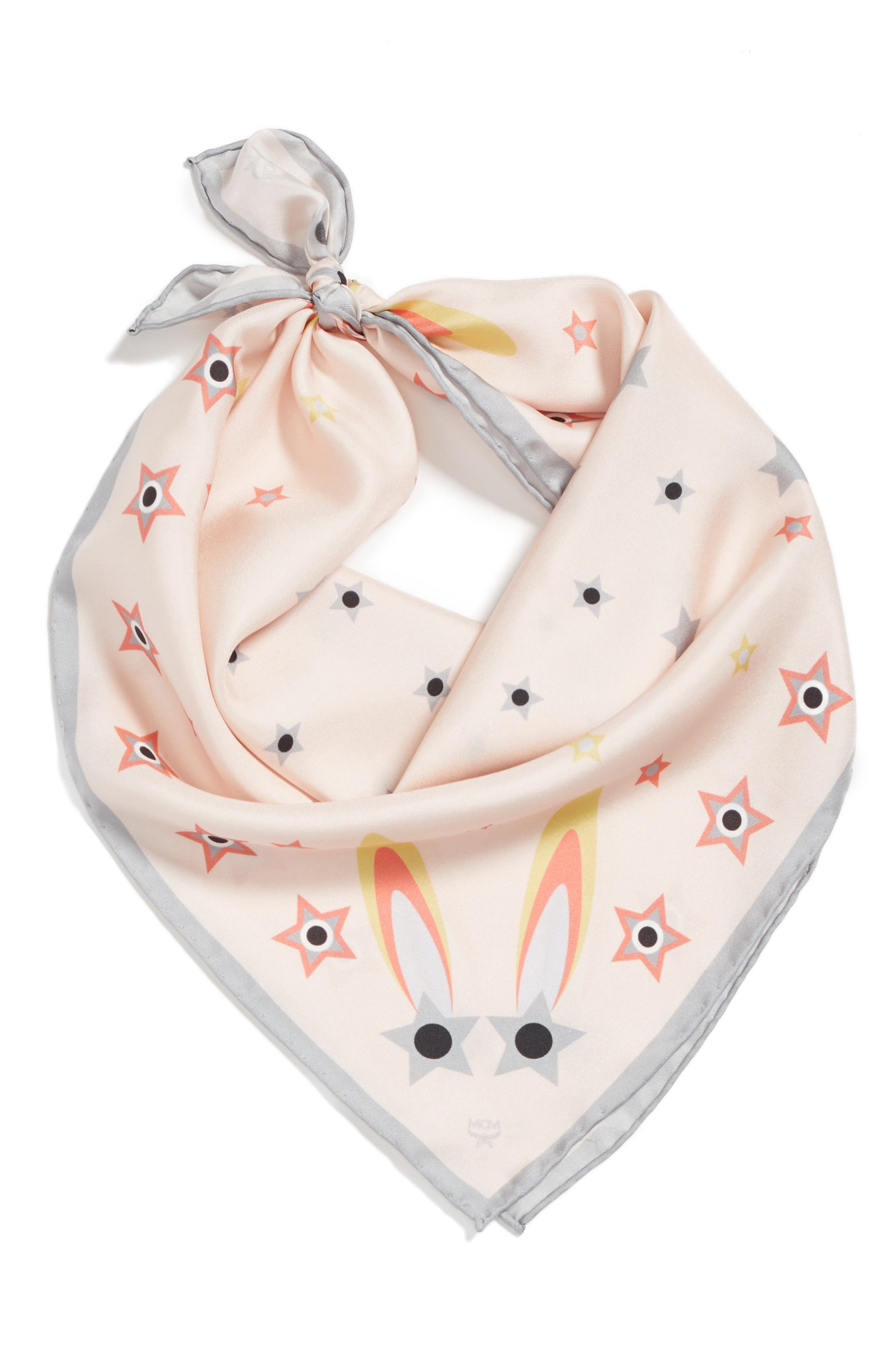 Star-Eyed Bunny Silk Scarf,                             Alternate thumbnail 6, color,