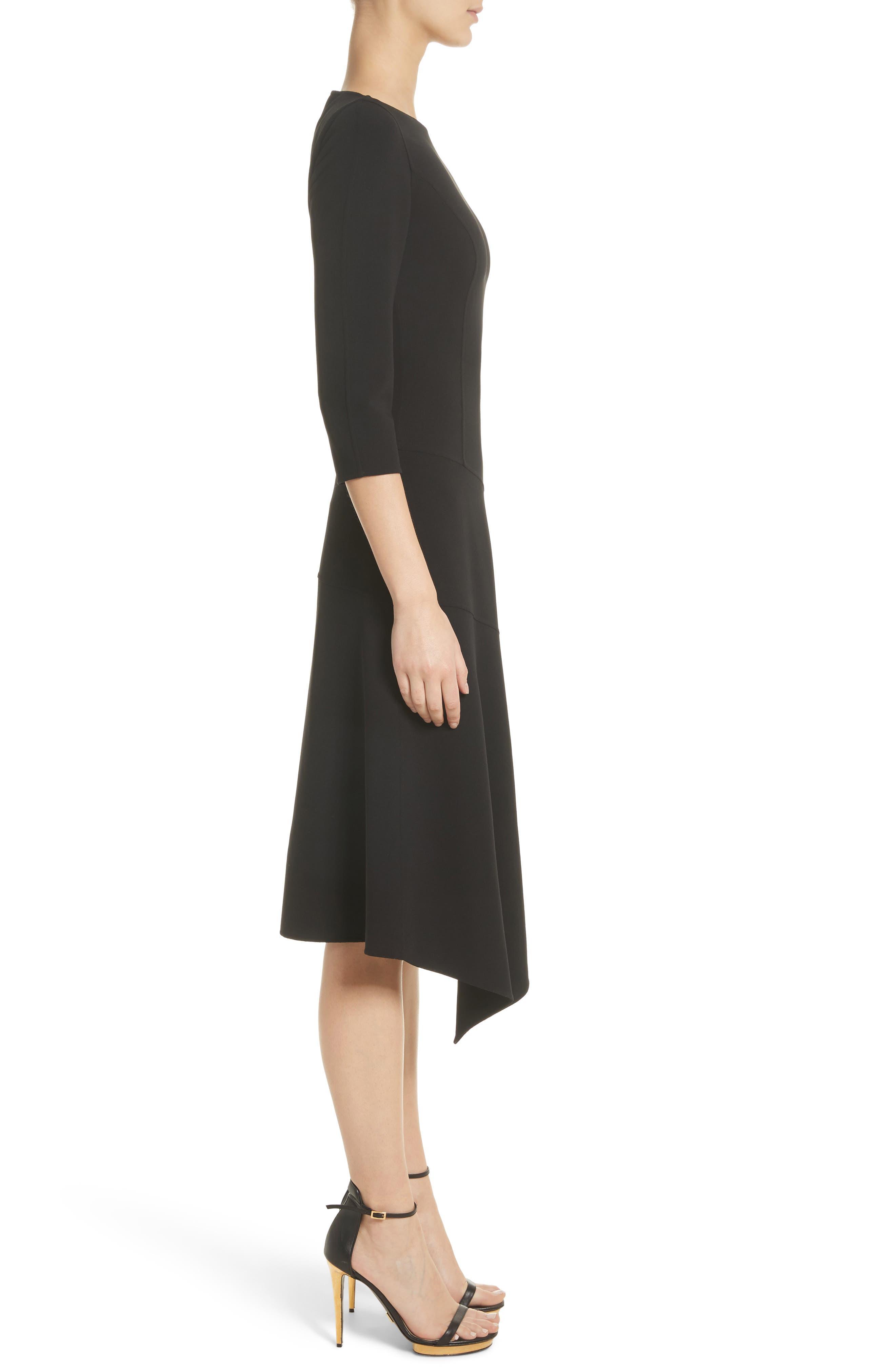 Stretch Wool Asymmetrical Dress,                             Alternate thumbnail 3, color,                             001