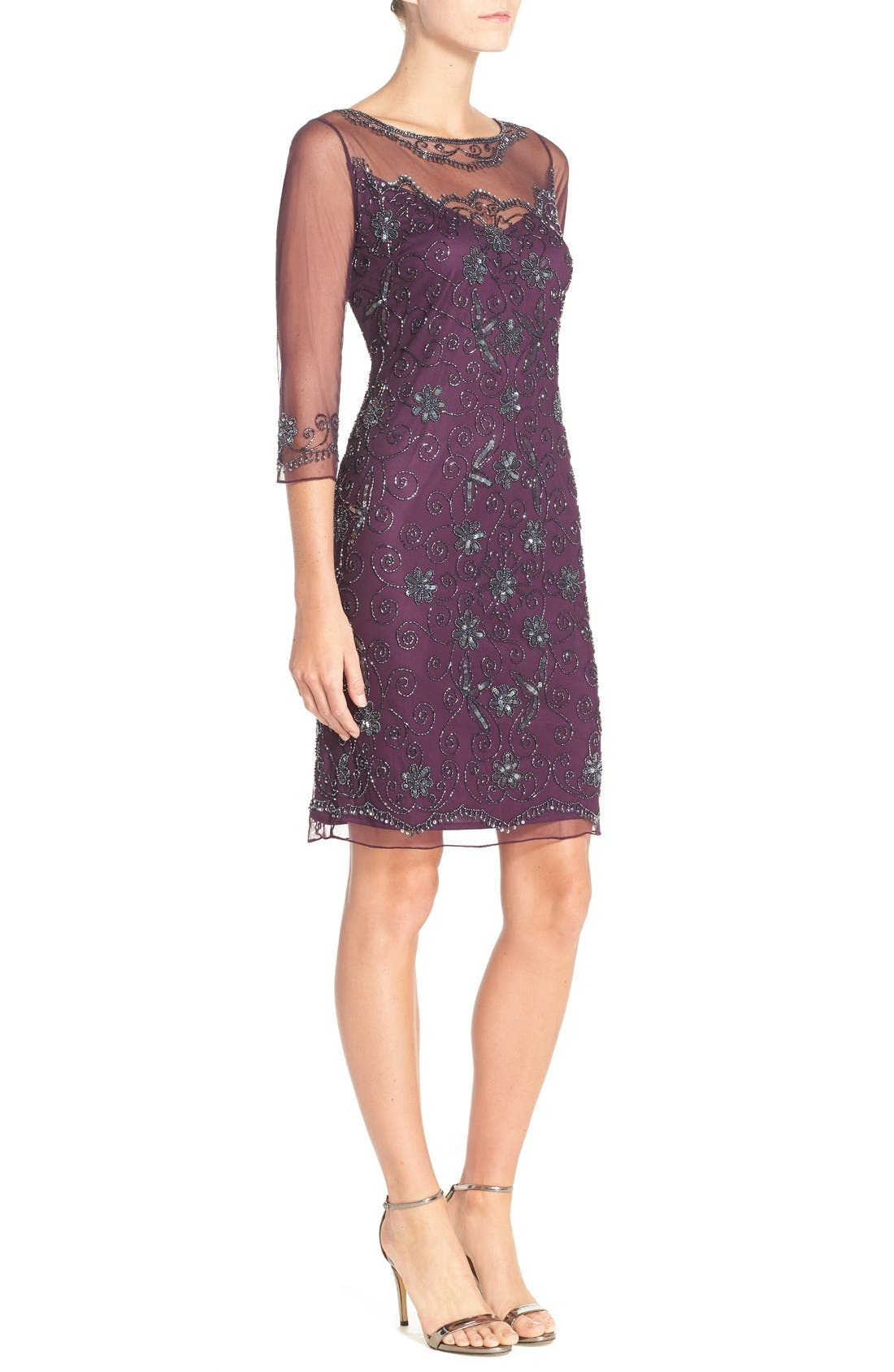 Beaded Mesh Sheath Dress,                             Alternate thumbnail 9, color,