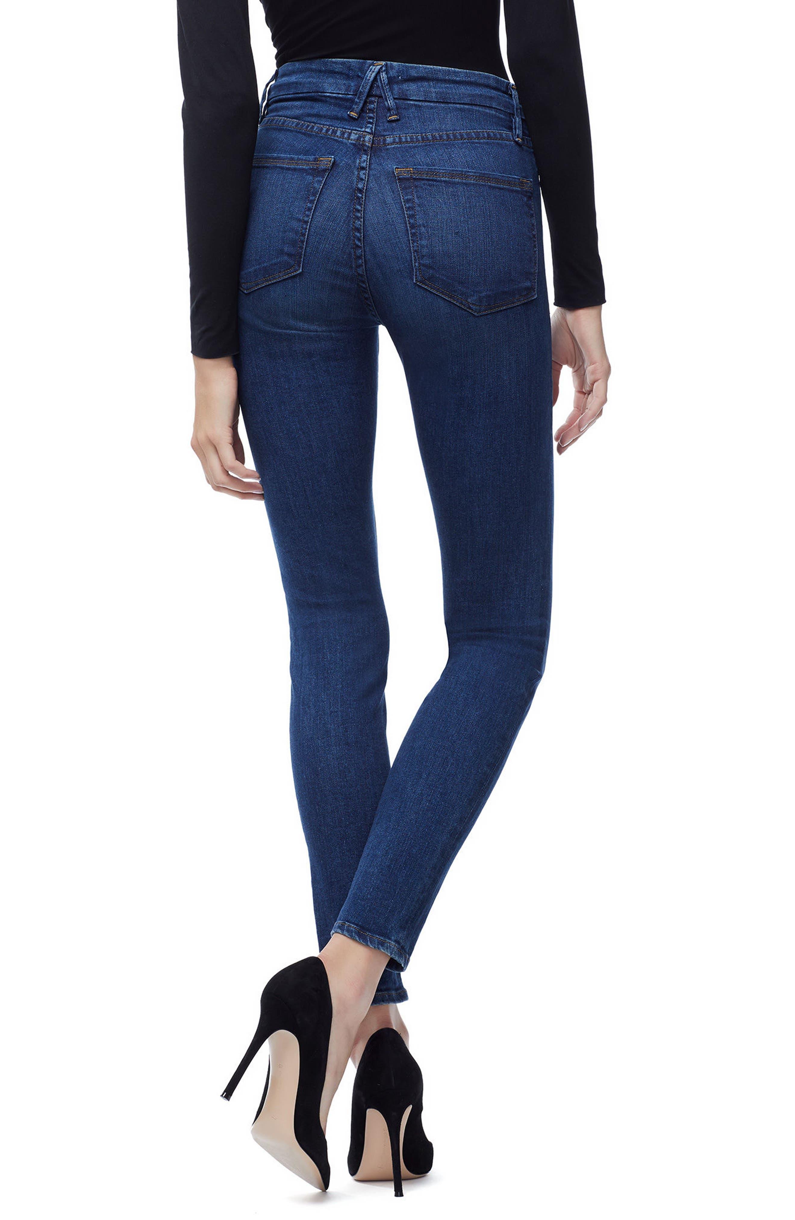 Good Waist High Waist Skinny Jeans,                             Alternate thumbnail 3, color,                             BLUE 161