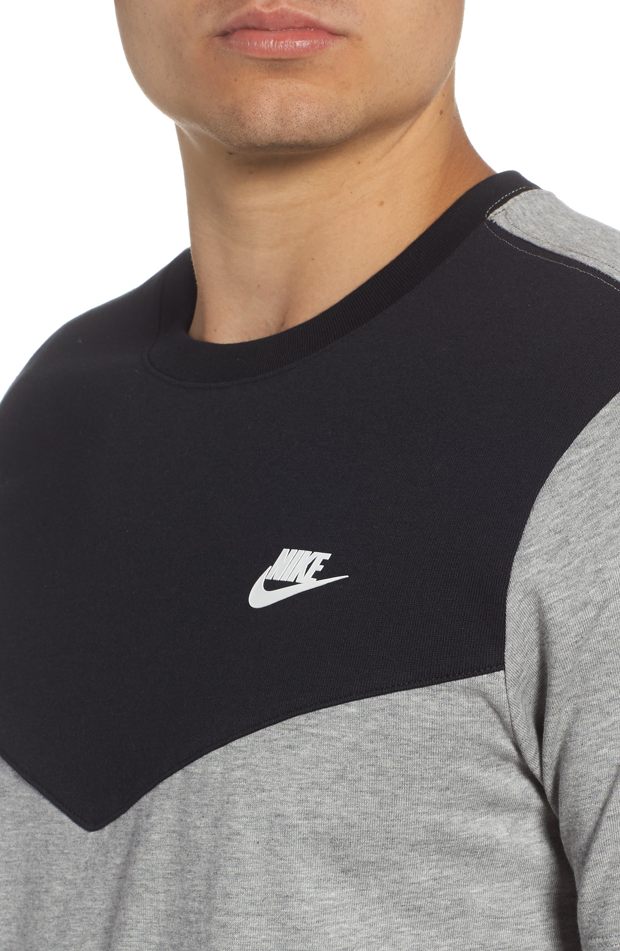 Windrunner Colorblocked T-Shirt,                             Alternate thumbnail 4, color,                             BLACK/ DK GREY HEATHER/ WHITE