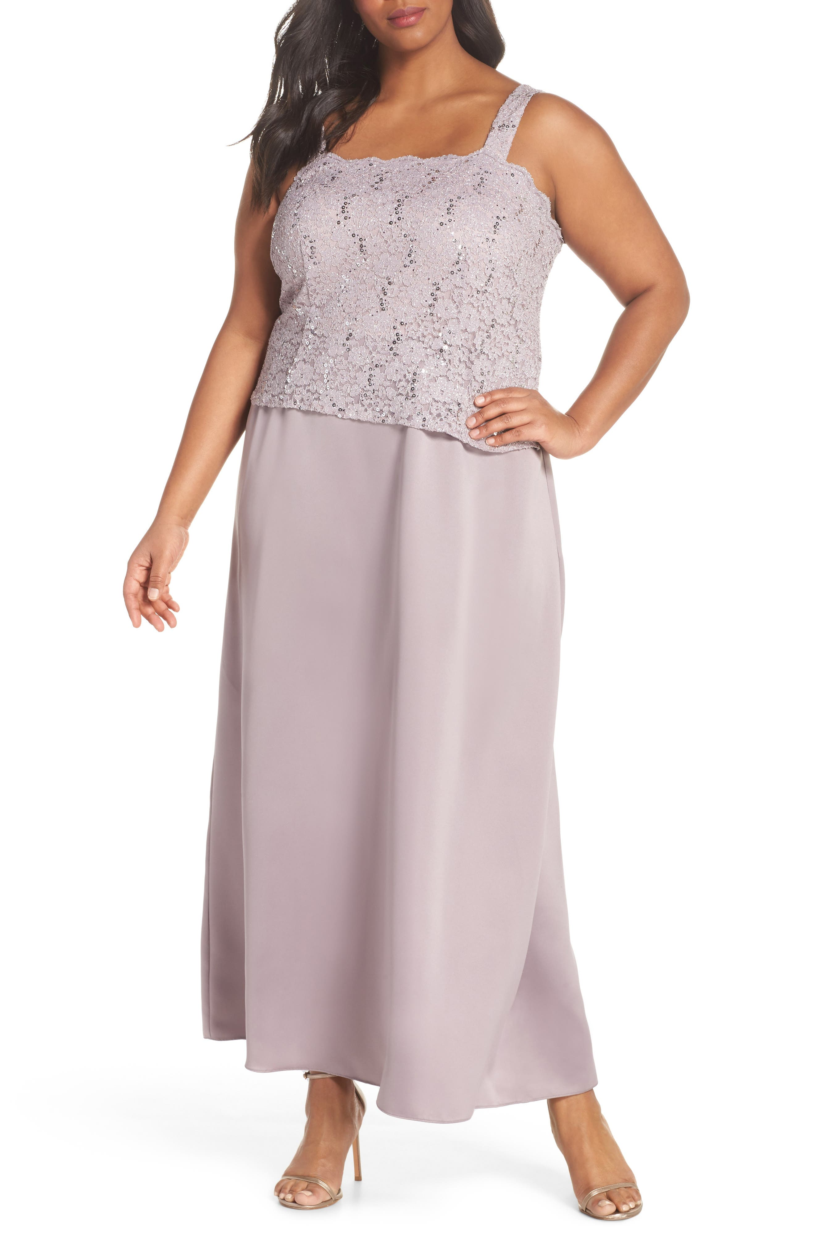 Sequin Lace & Satin Gown with Jacket,                             Alternate thumbnail 3, color,                             695
