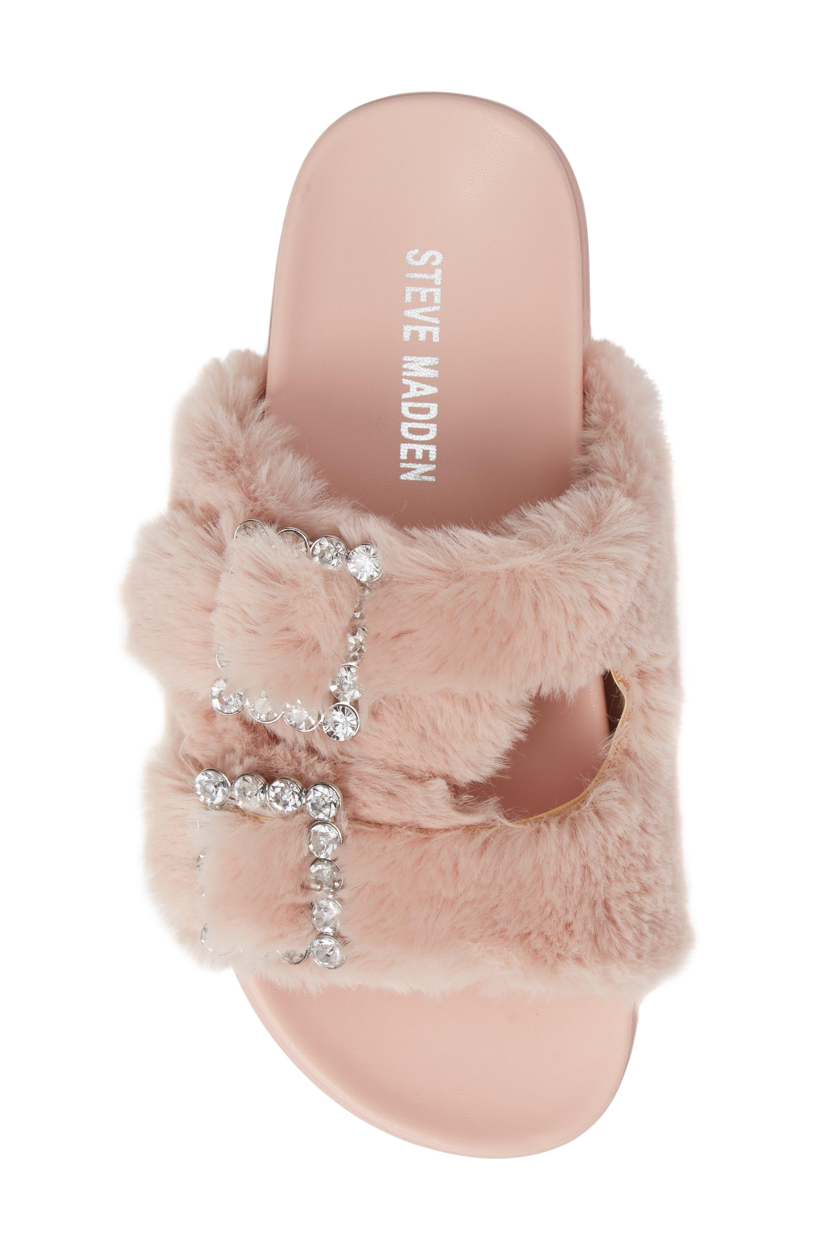Faux Fur Slide Sandal,                             Alternate thumbnail 5, color,                             650