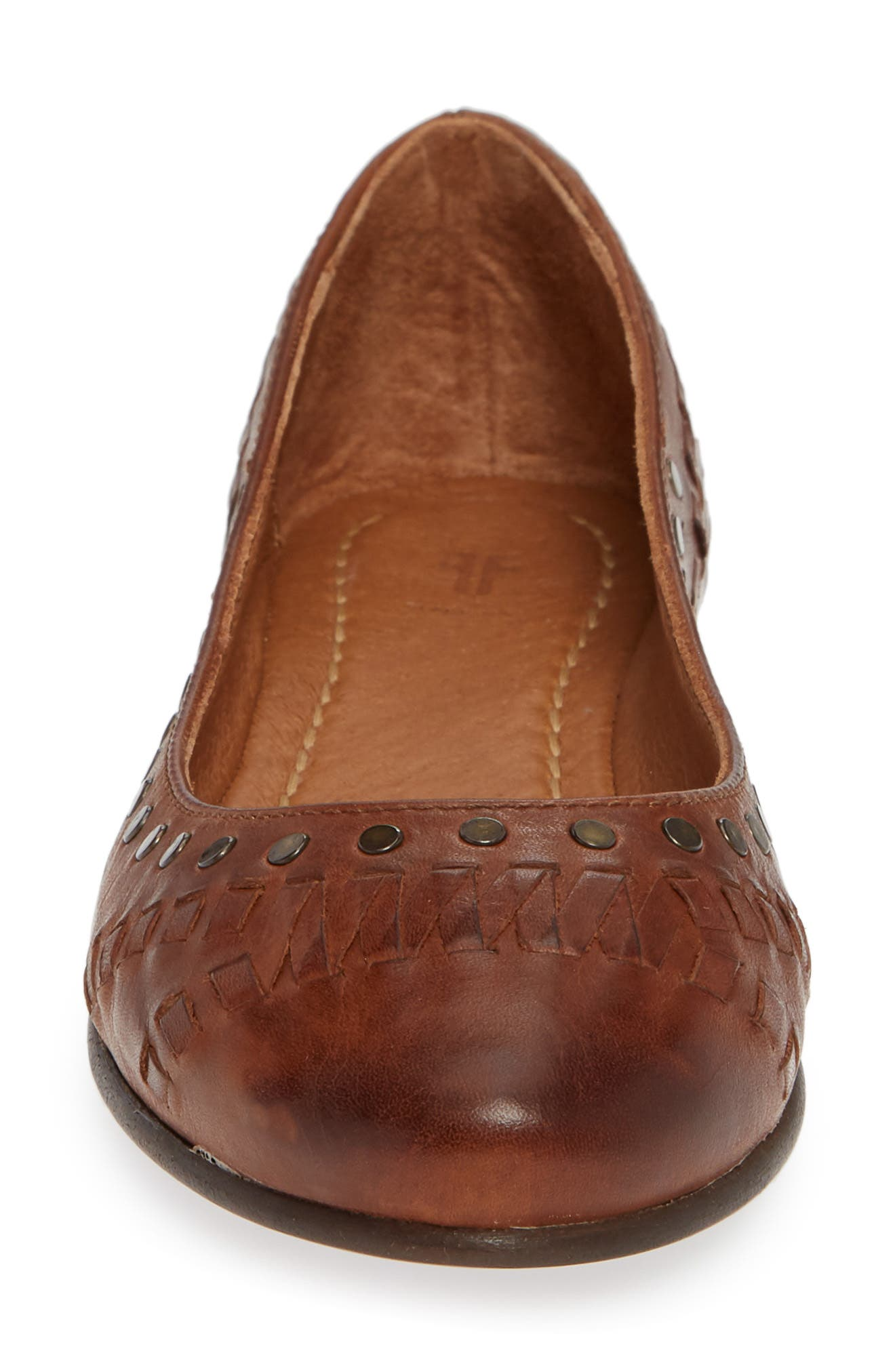 Carson Whipstitch Ballet Flat,                             Alternate thumbnail 4, color,                             COGNAC LEATHER