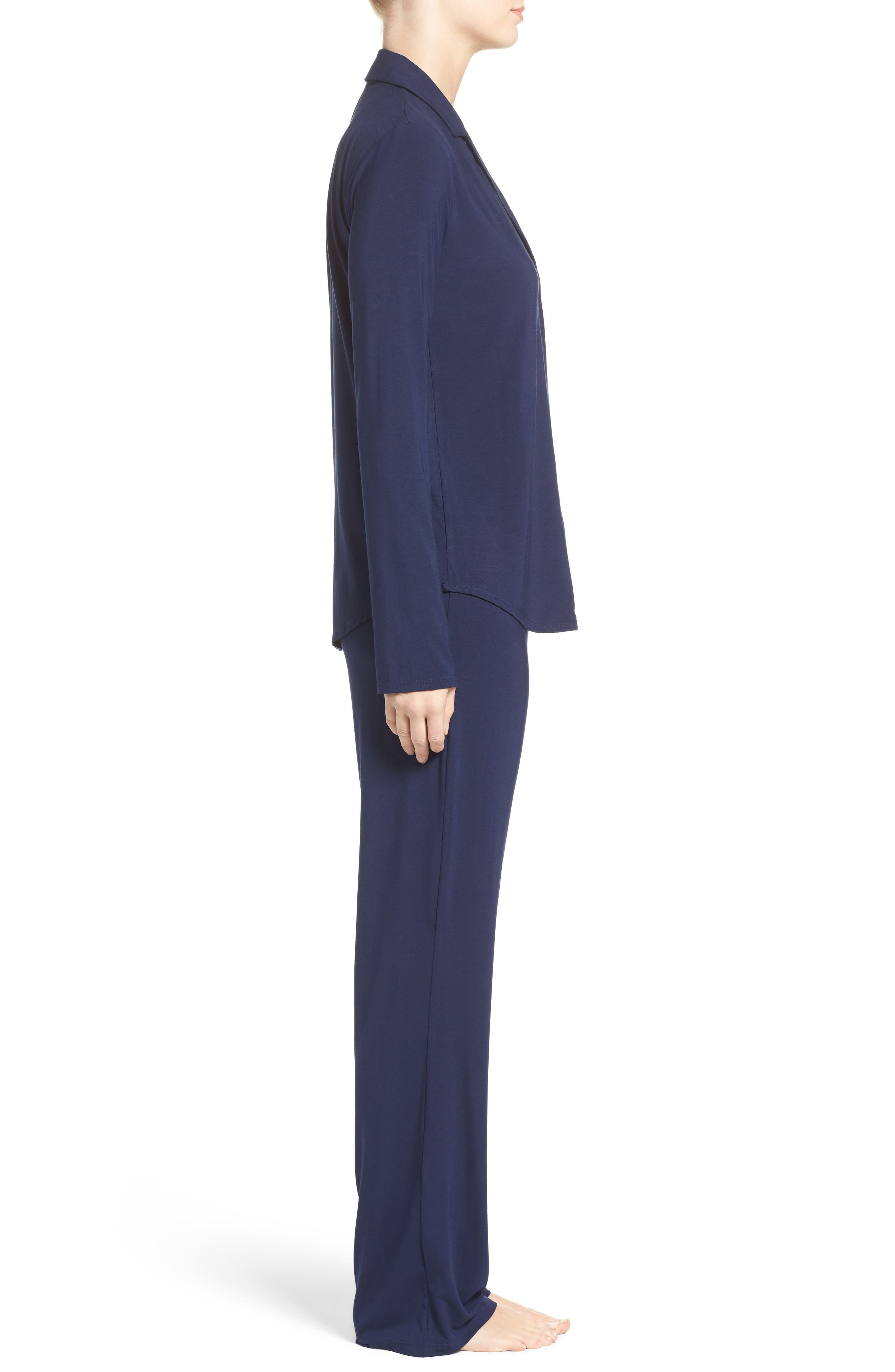 Stretch Modal Pajamas,                             Alternate thumbnail 3, color,                             PEACOAT BLUE