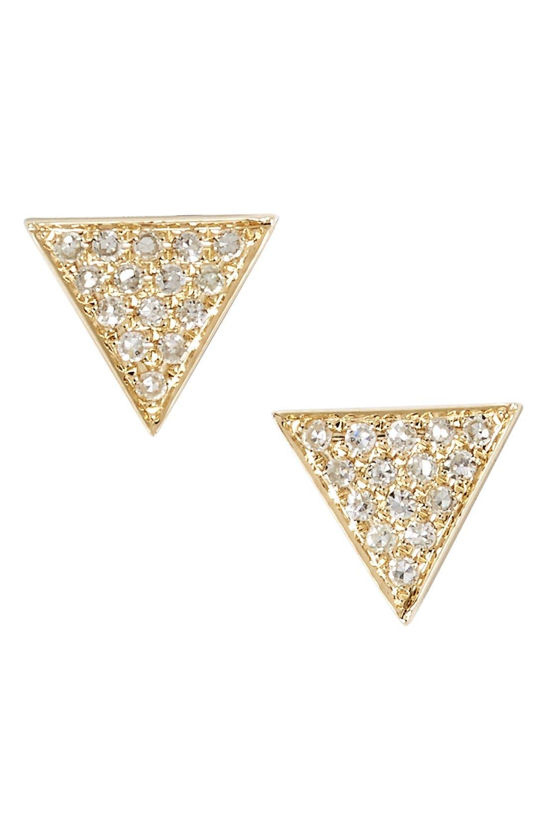 'Emily Sarah' Diamond Pavé Triangle Stud Earrings,                         Main,                         color, YELLOW GOLD