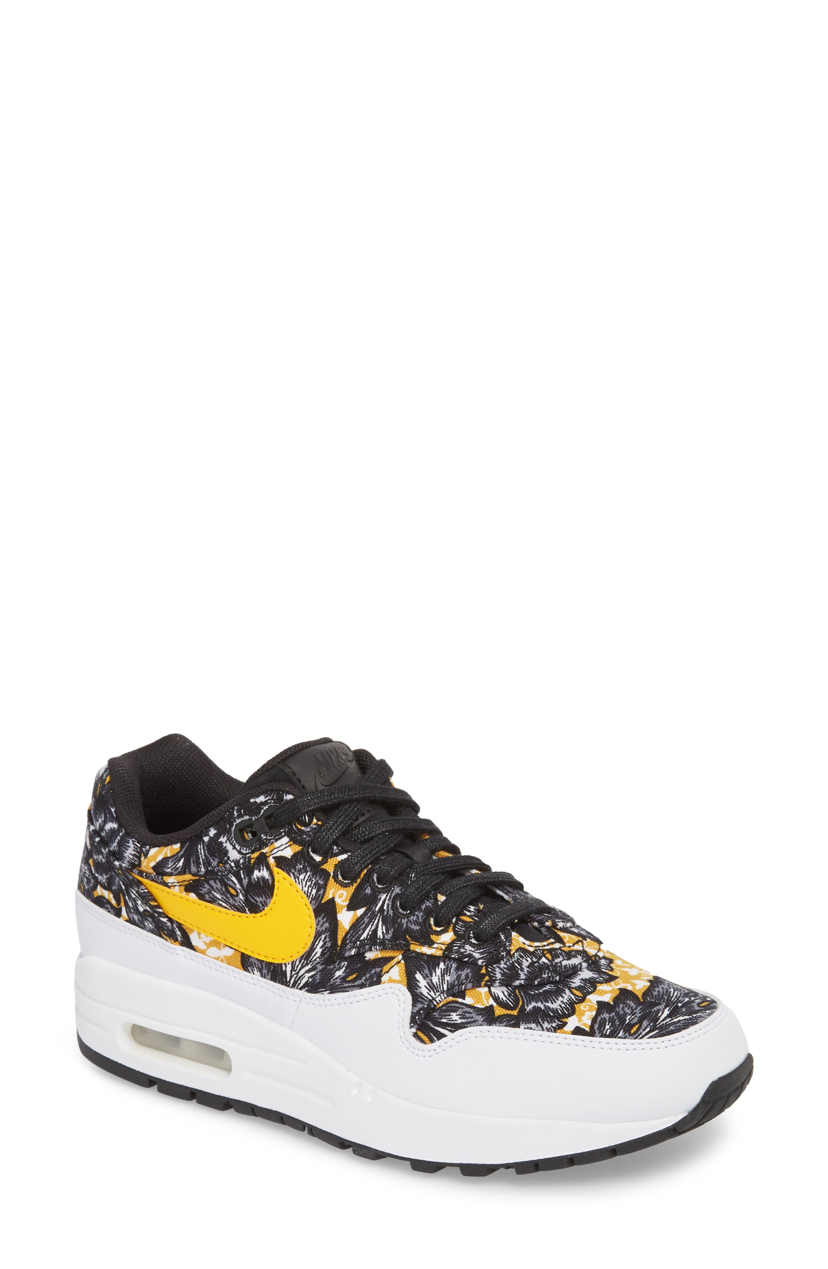 Air Max 1 QS Sneaker,                         Main,                         color, WHITE/ UNIVERSITY GOLD/ BLACK