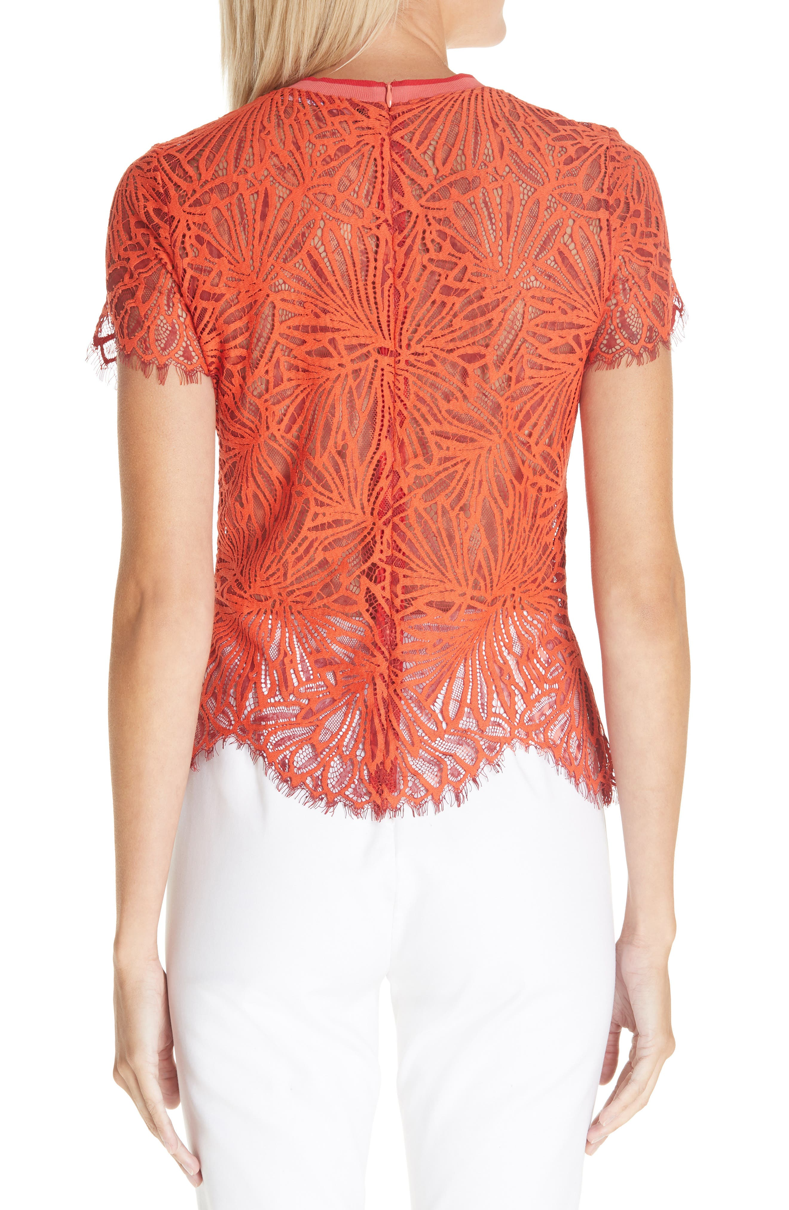 PROENZA SCHOULER,                             Scalloped Stretch Lace Top,                             Alternate thumbnail 2, color,                             TANGERINE