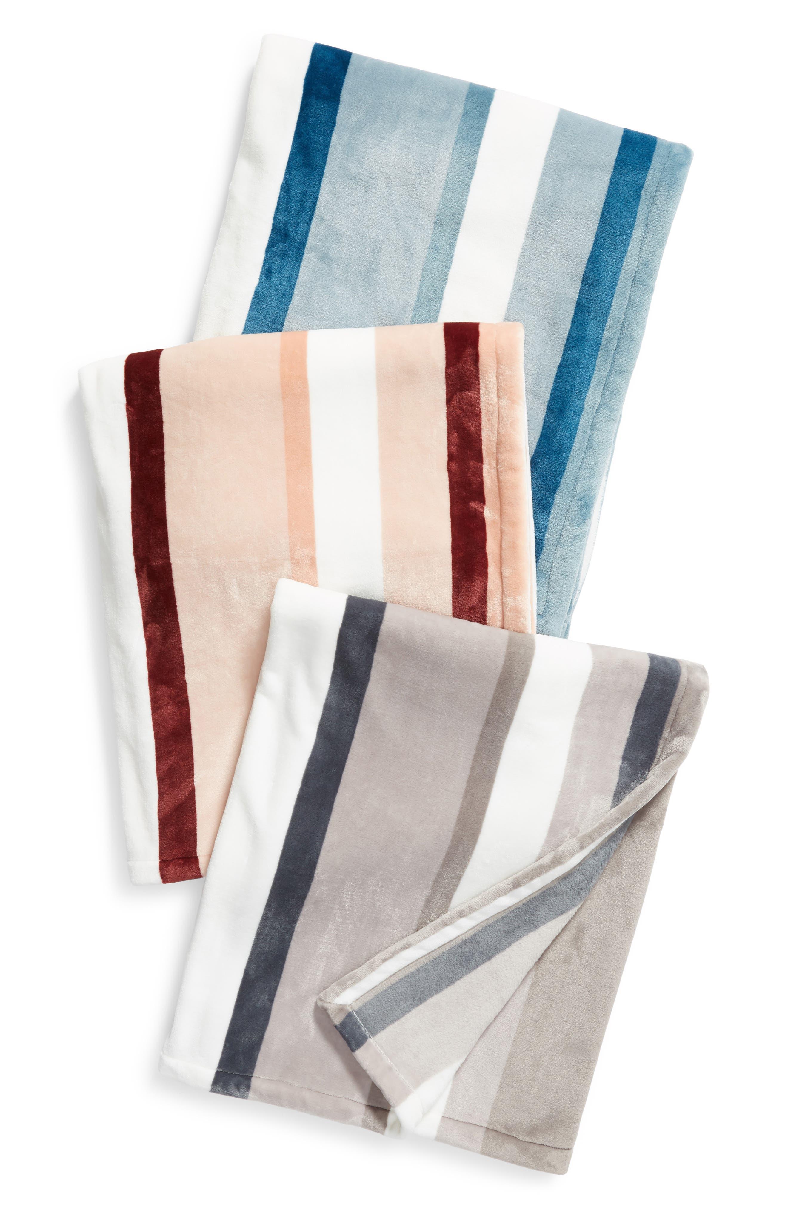 Tonal Stripe Plush Throw,                             Alternate thumbnail 3, color,                             020