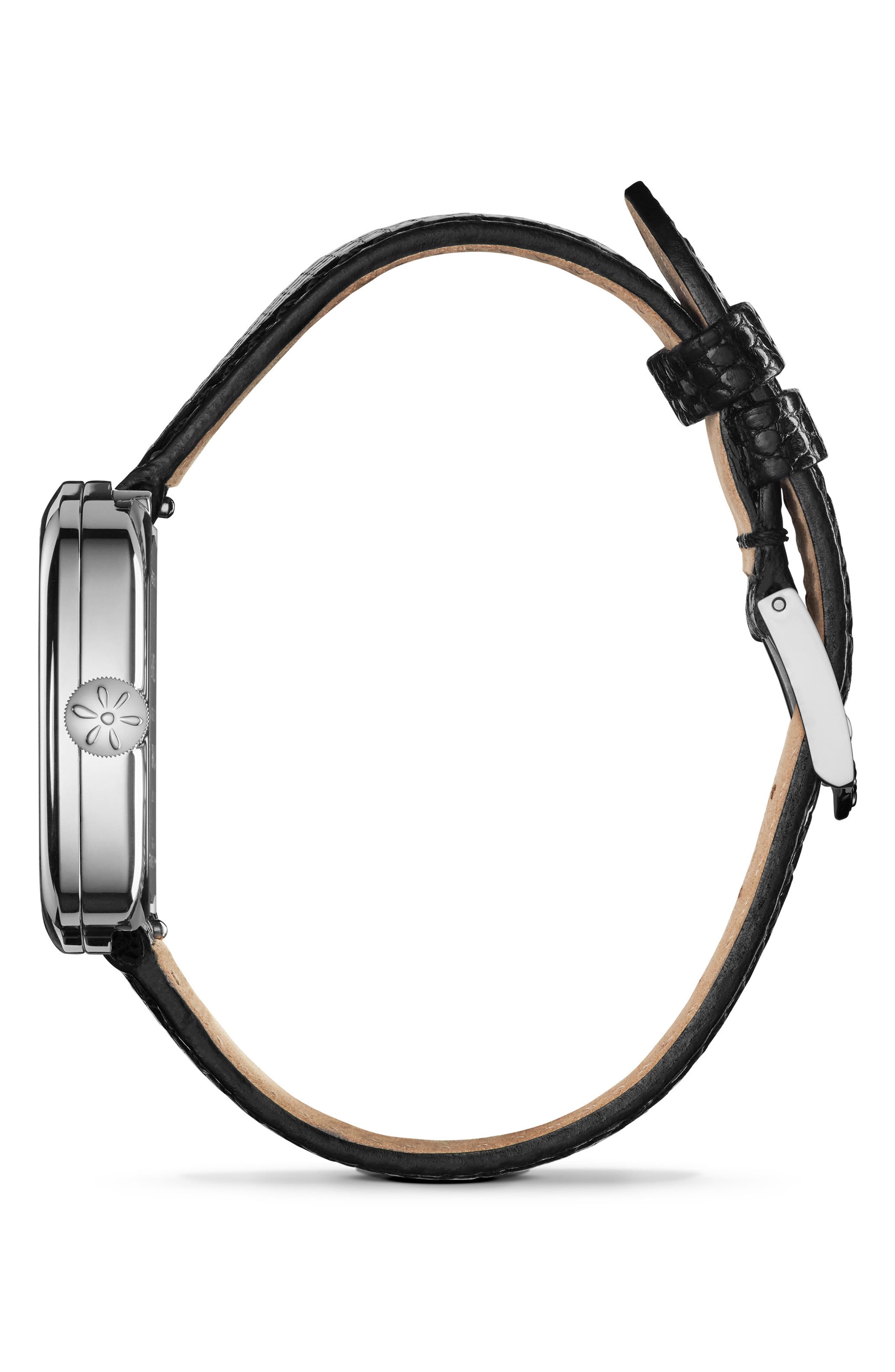 GOMELSKY,                             The Eppie Sneed Mini Lizardskin Strap Watch, 32mm,                             Alternate thumbnail 3, color,                             001