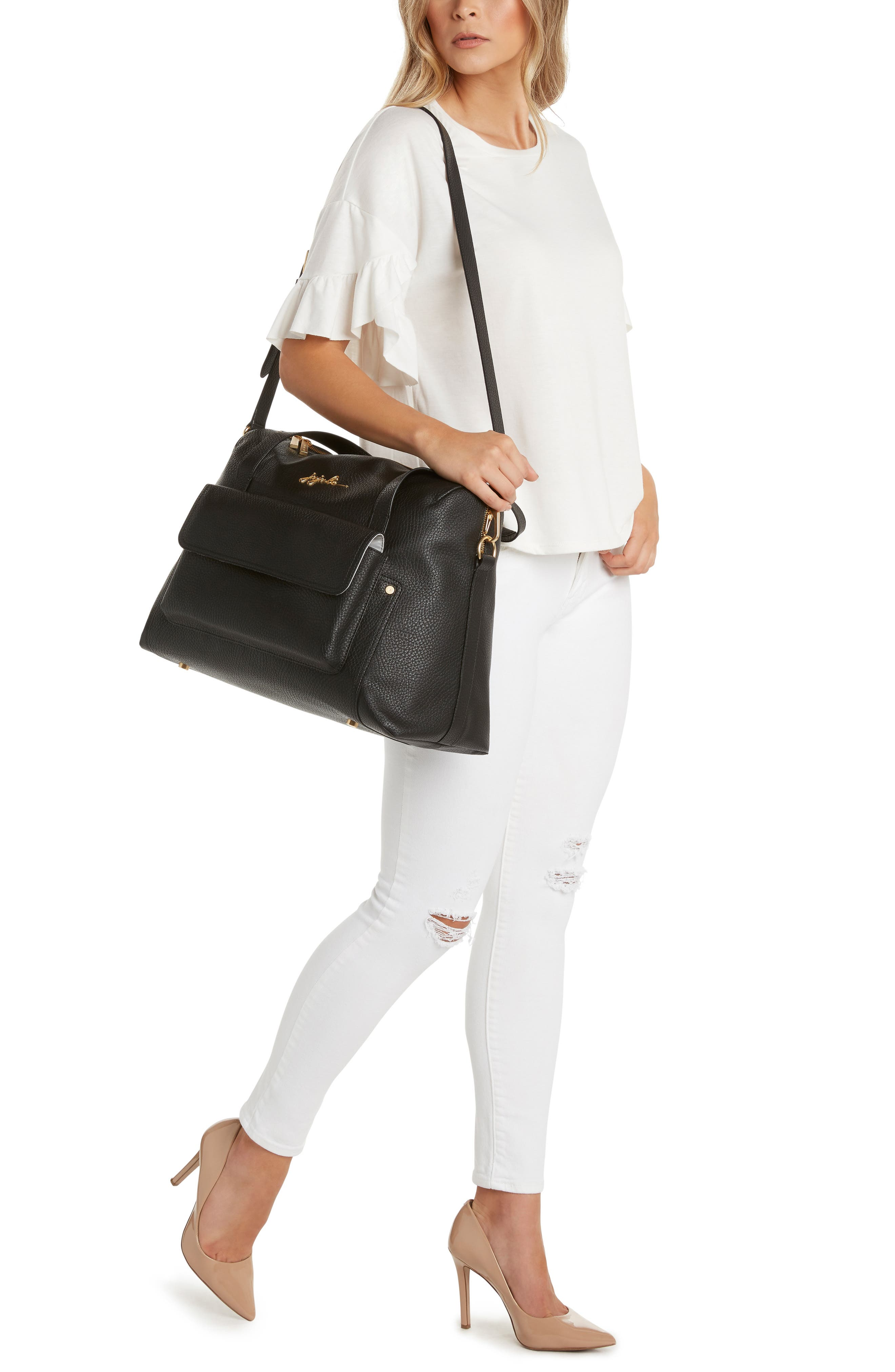 Ever Collection Wherever Faux Leather Weekend Diaper Bag,                             Alternate thumbnail 5, color,                             NOIR