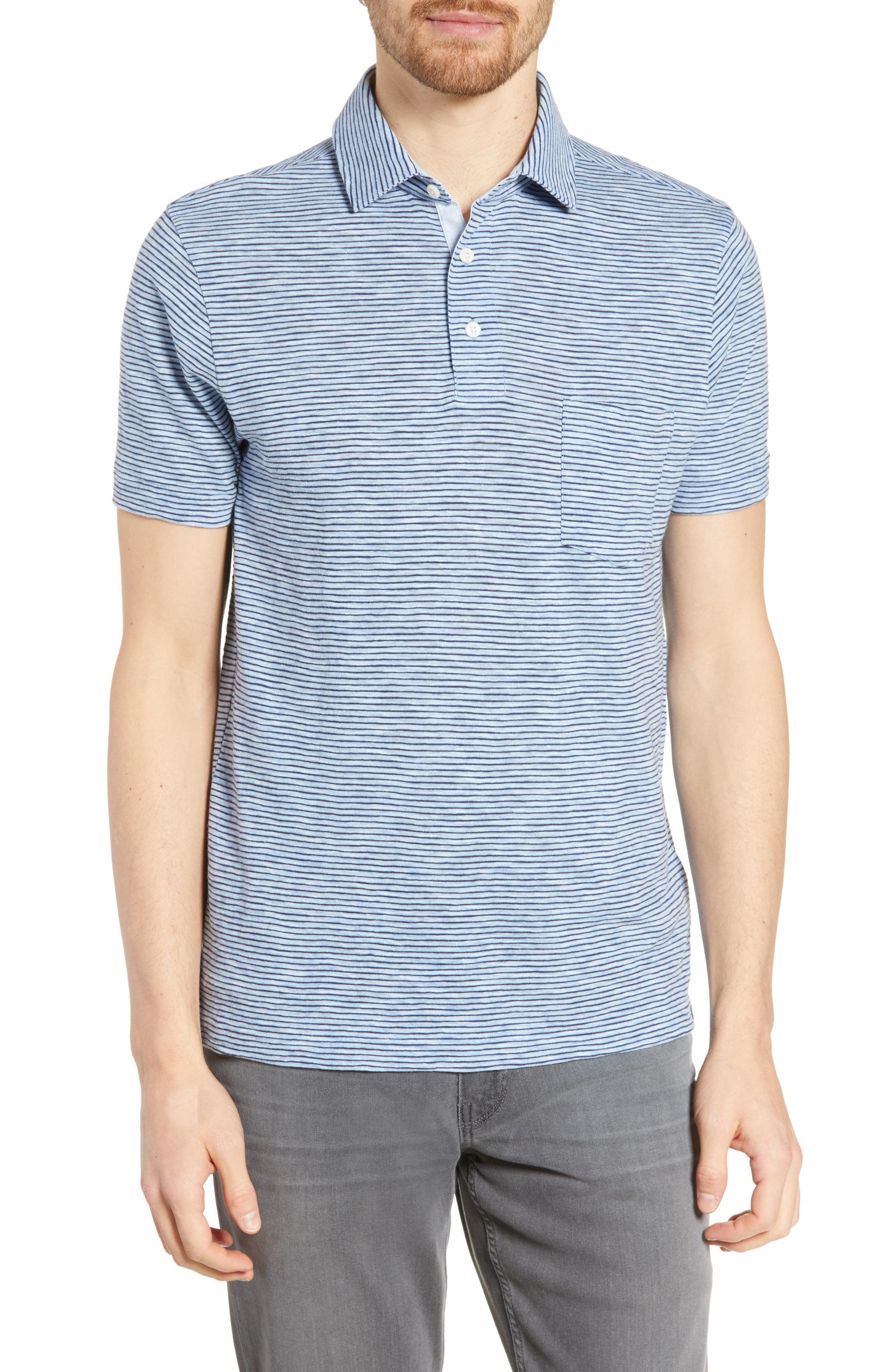 Faherty Heather Regular Fit Stripe Polo