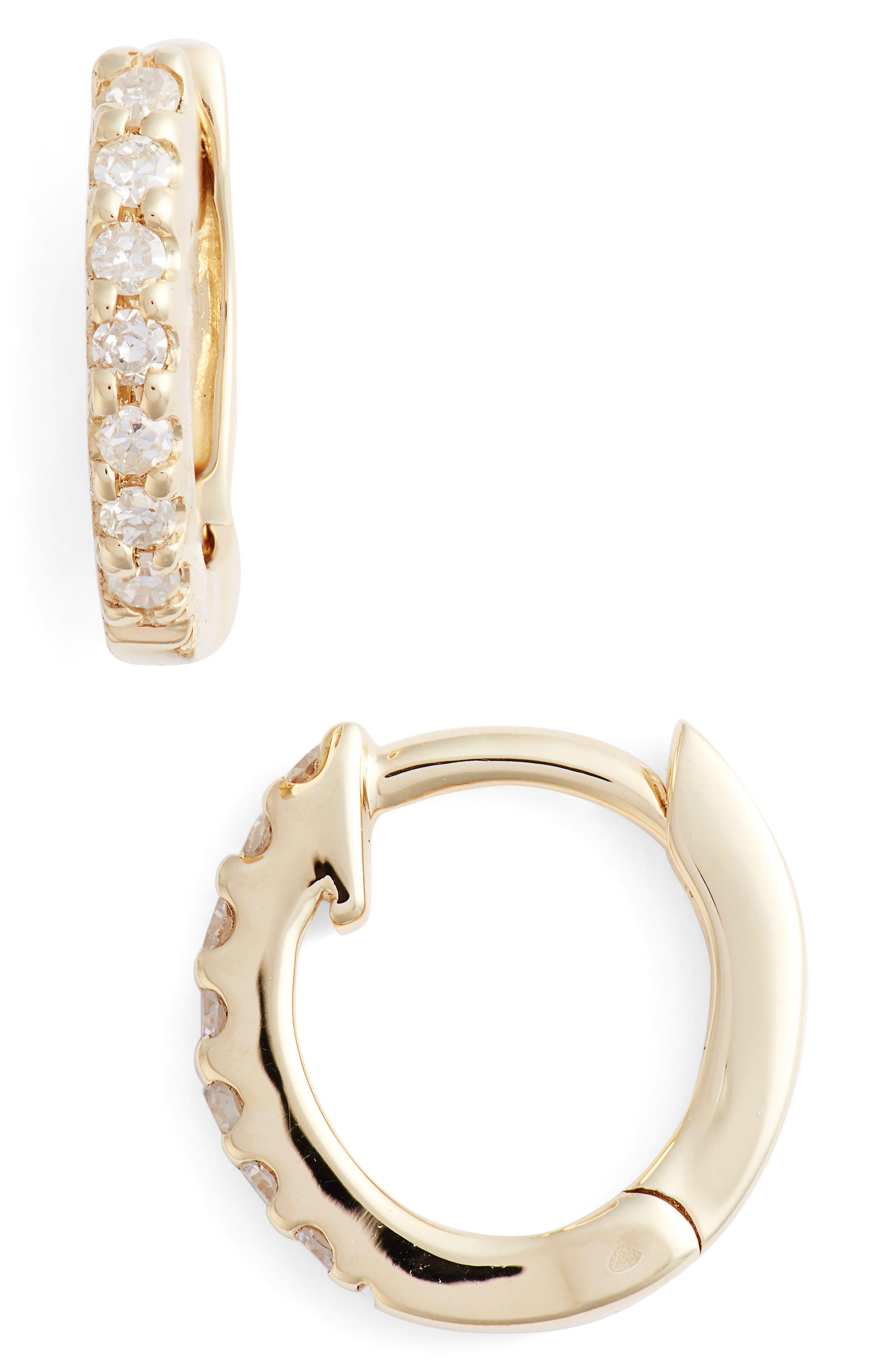 DANA REBECCA DESIGNS,                             Mini Diamond Huggies,                             Main thumbnail 1, color,                             YELLOW GOLD