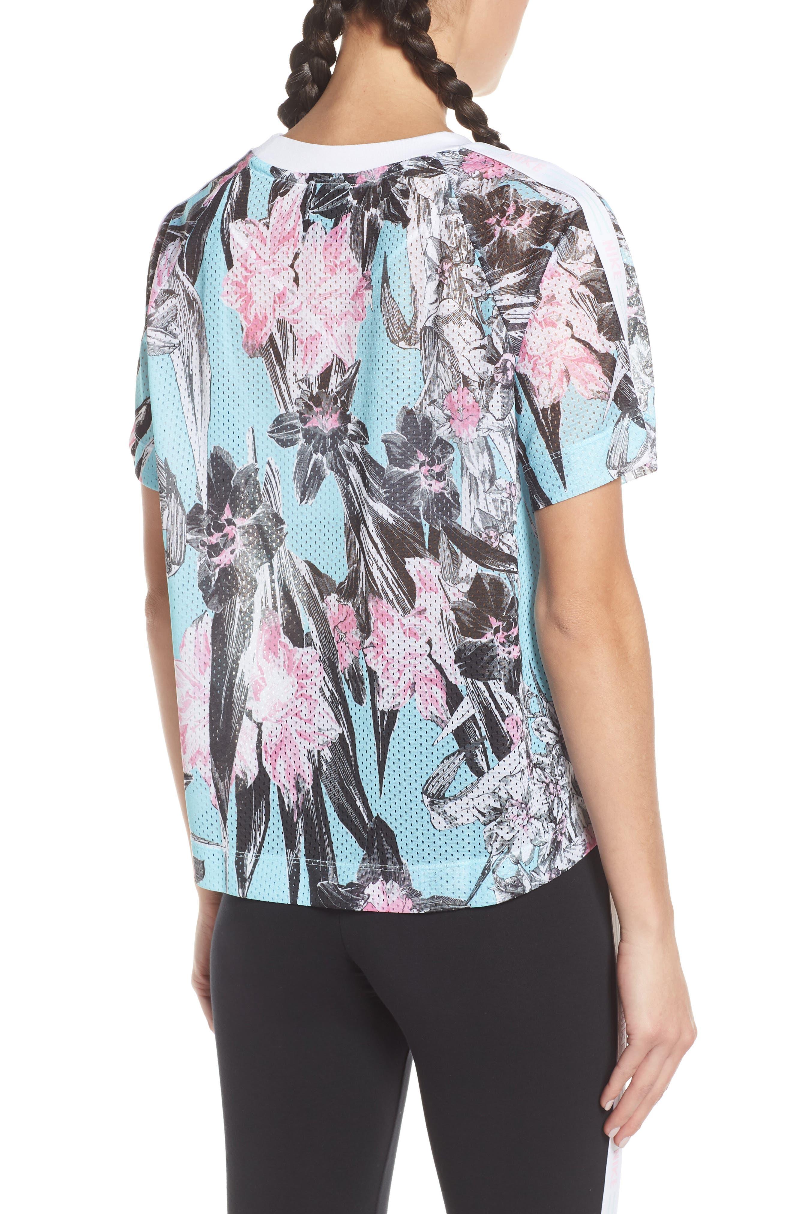 Sportswear Floral Print Mesh Top,                             Alternate thumbnail 2, color,                             TOPAZ MIST/ WHITE