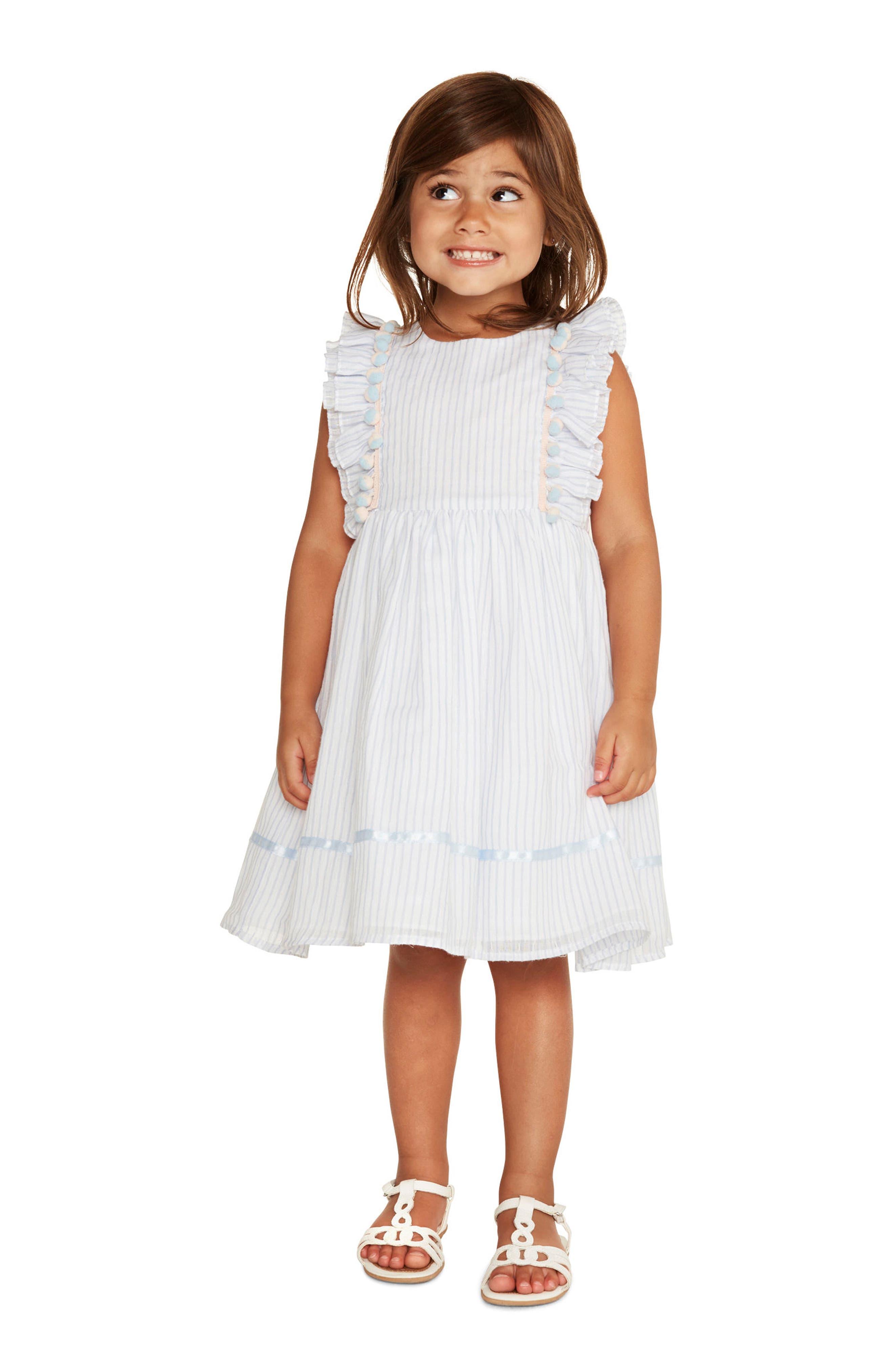 Ruffle Stripe Dress,                             Alternate thumbnail 3, color,                             402