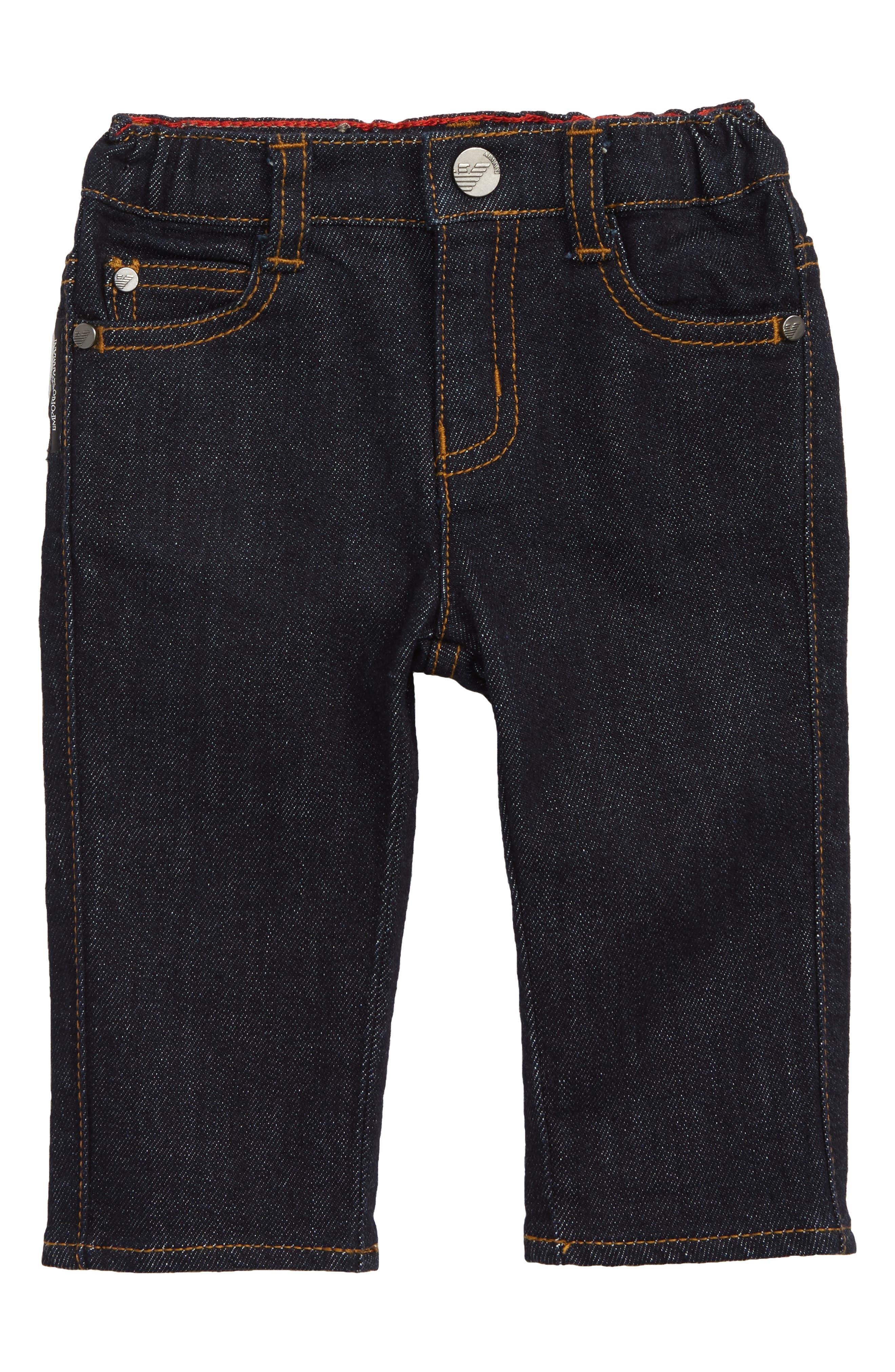 Elastic Waist Jeans,                         Main,                         color, SOLID DARK BLUE