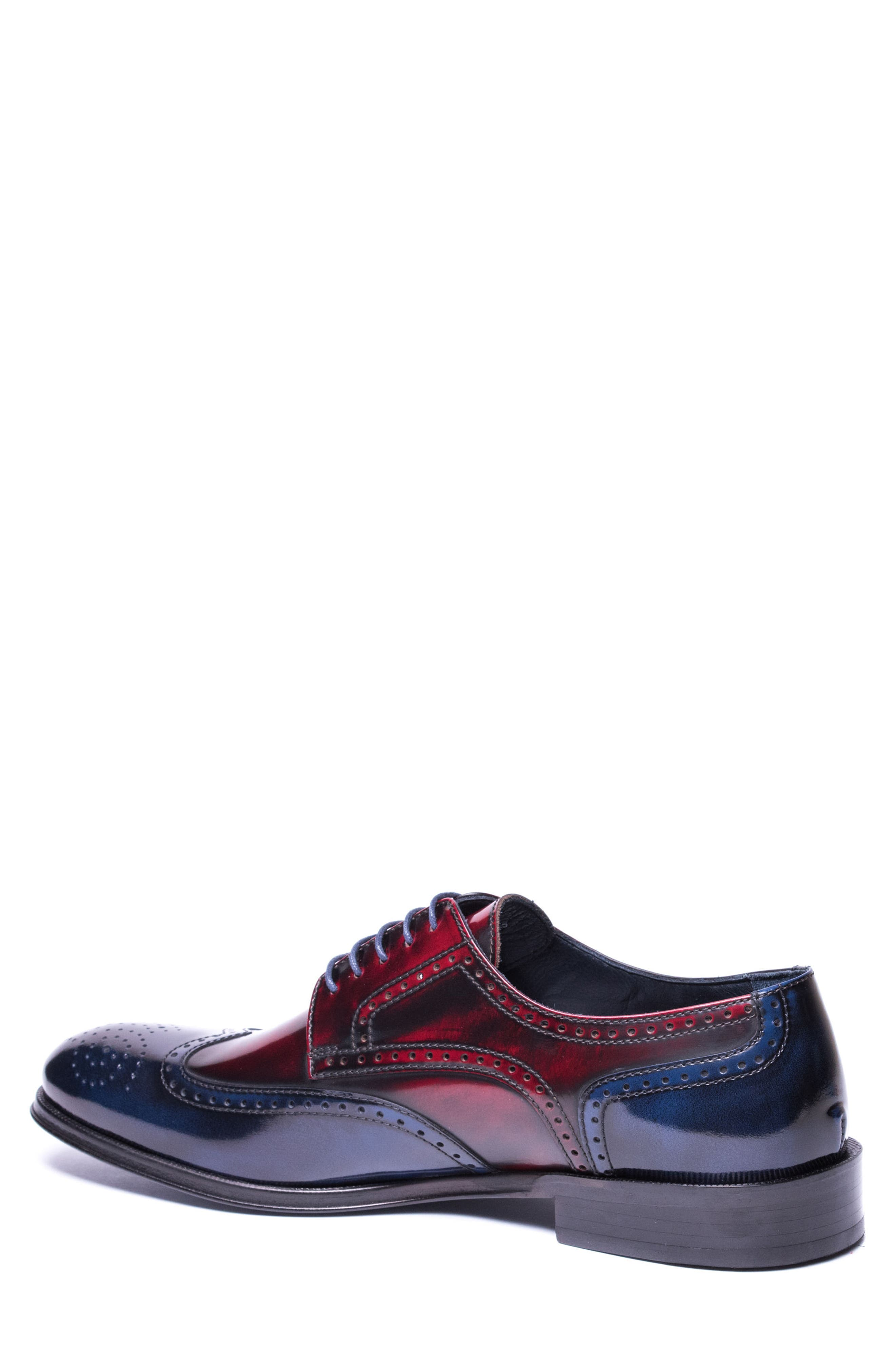 Bryce Wingtip Derby,                             Alternate thumbnail 2, color,                             RED/ BLUE LEATHER