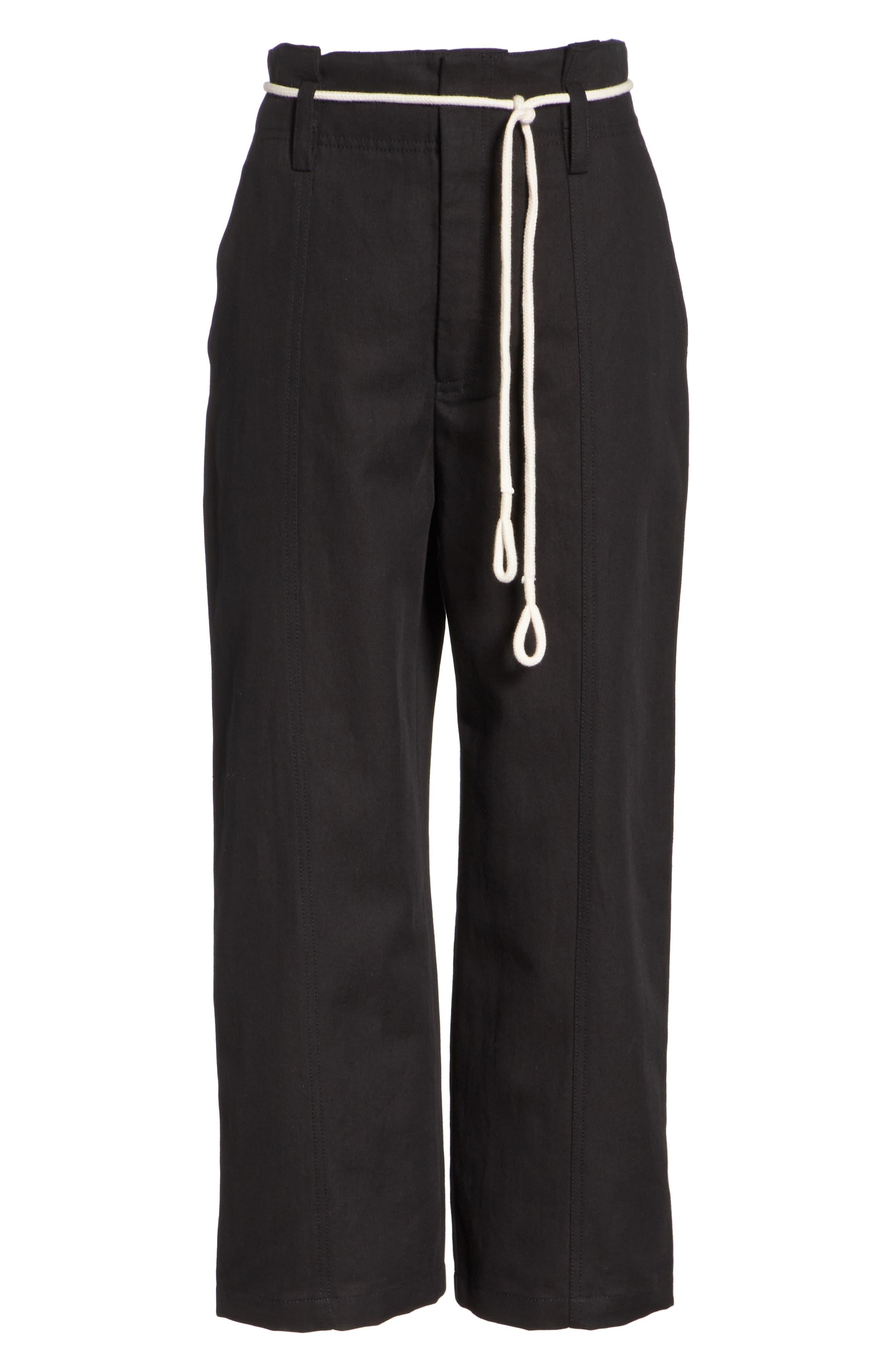 High Rise Linen Cotton Crop Pants,                             Alternate thumbnail 6, color,                             BLACK