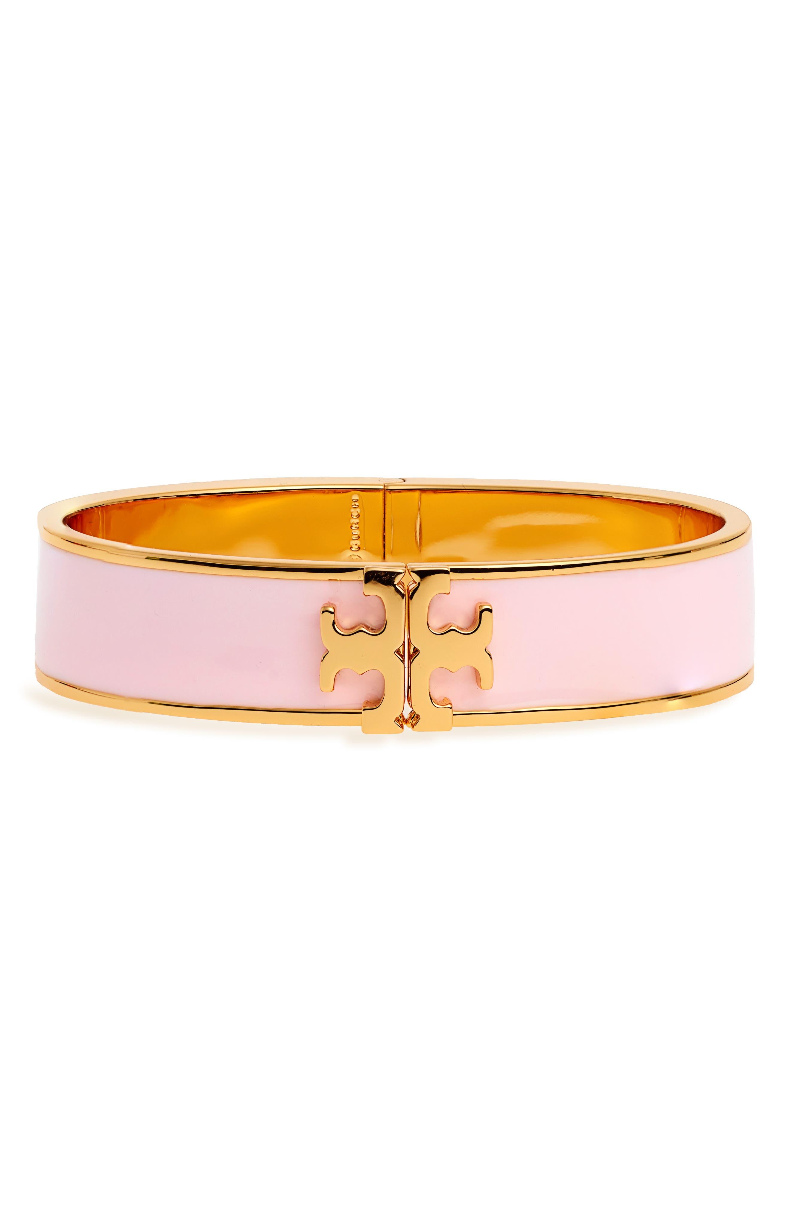 Raised Logo Enamel Hinge Bracelet,                             Main thumbnail 1, color,                             LOTUS PINK/ TORY GOLD