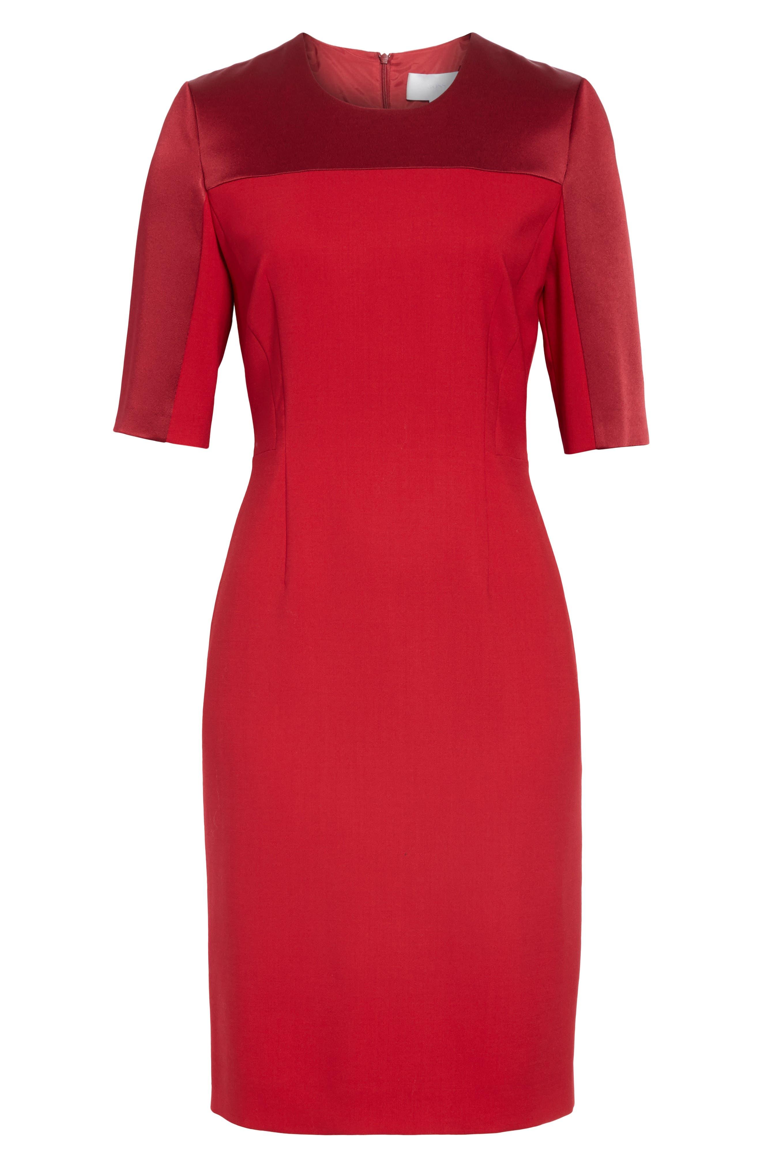 Danufa Stretch Wool Sheath Dress,                             Alternate thumbnail 7, color,                             DARK RED