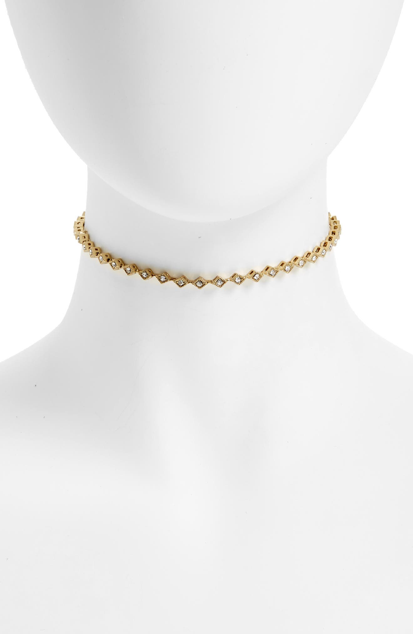 LUV AJ Crystal Cubic Zirconia Choker Necklace in Gold