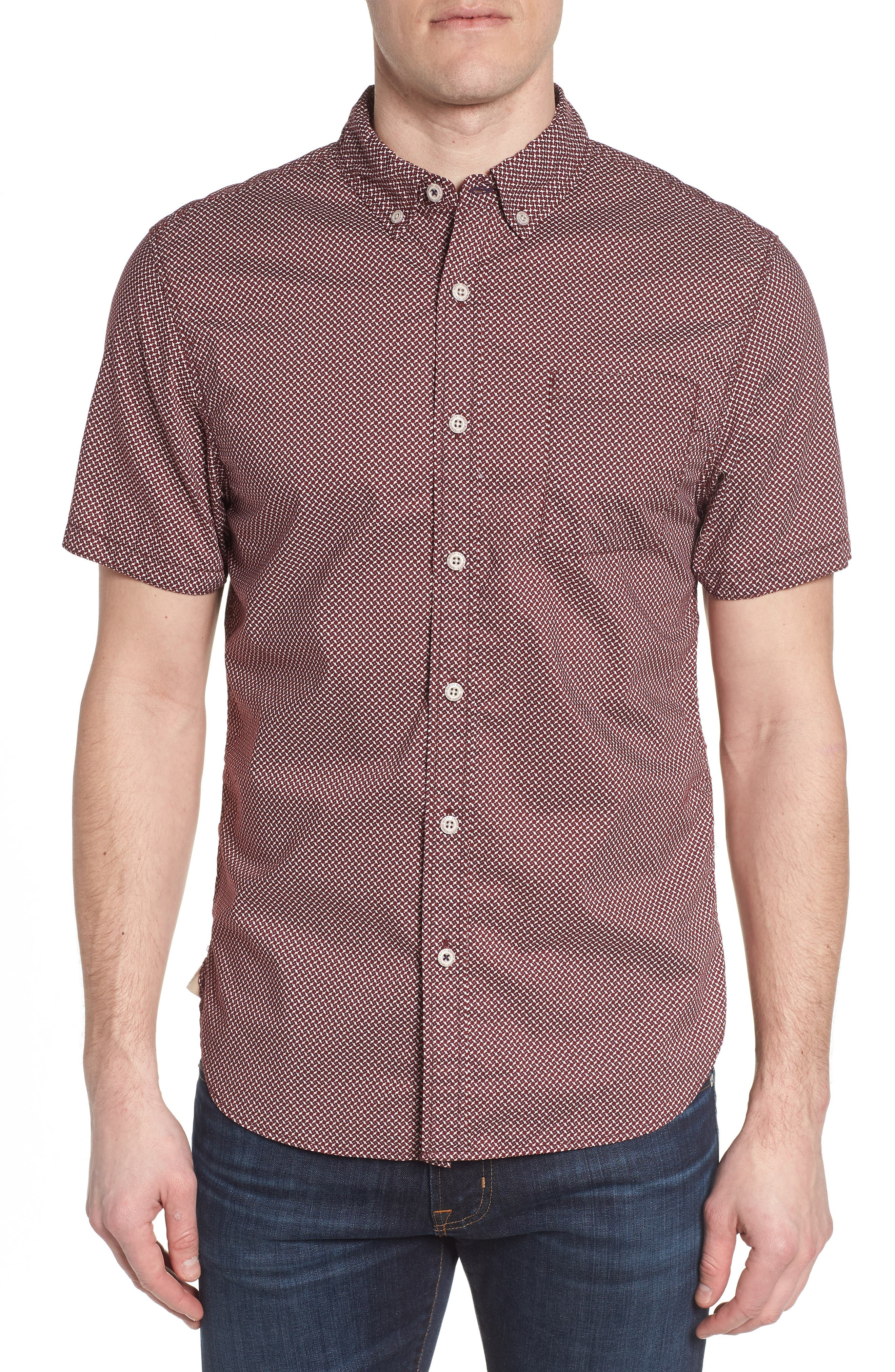 Truman Slim Fit Print Sport Shirt,                         Main,                         color, 601