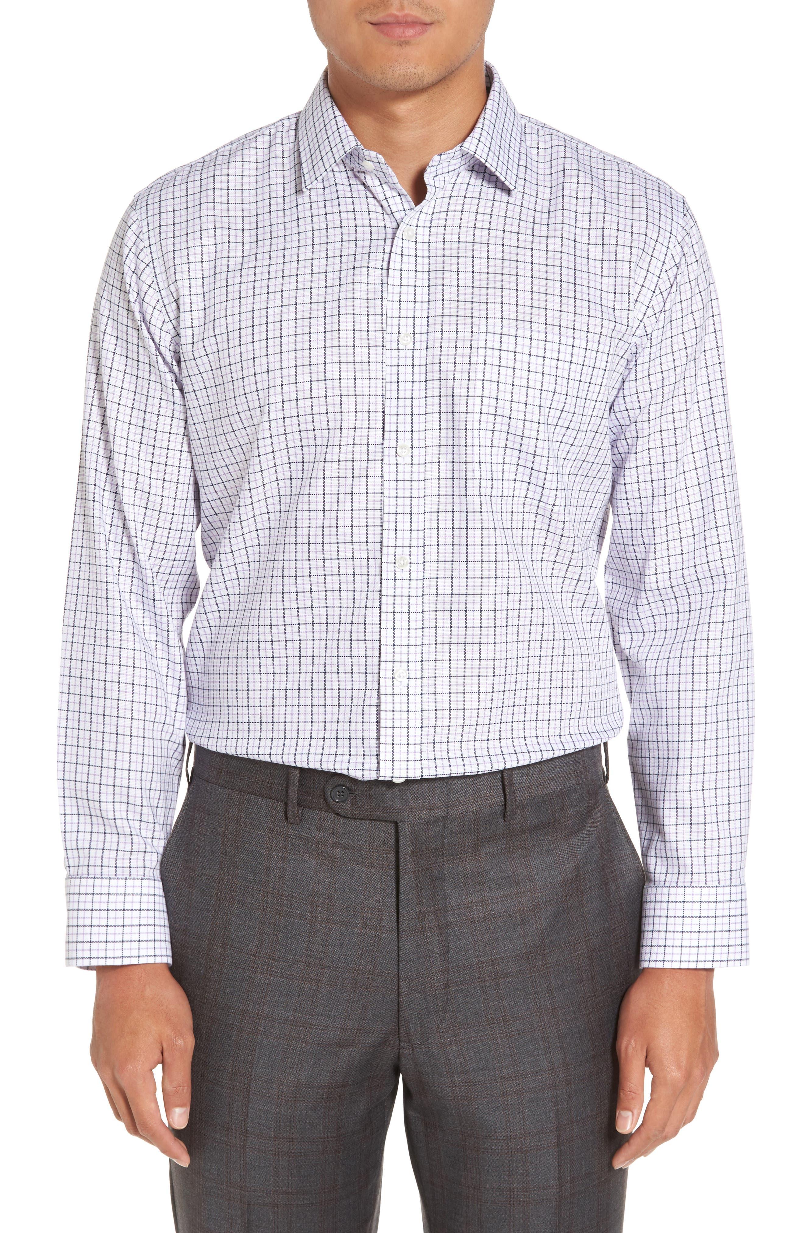 Smartcare<sup>™</sup> Trim Fit Check Dress Shirt,                         Main,                         color,