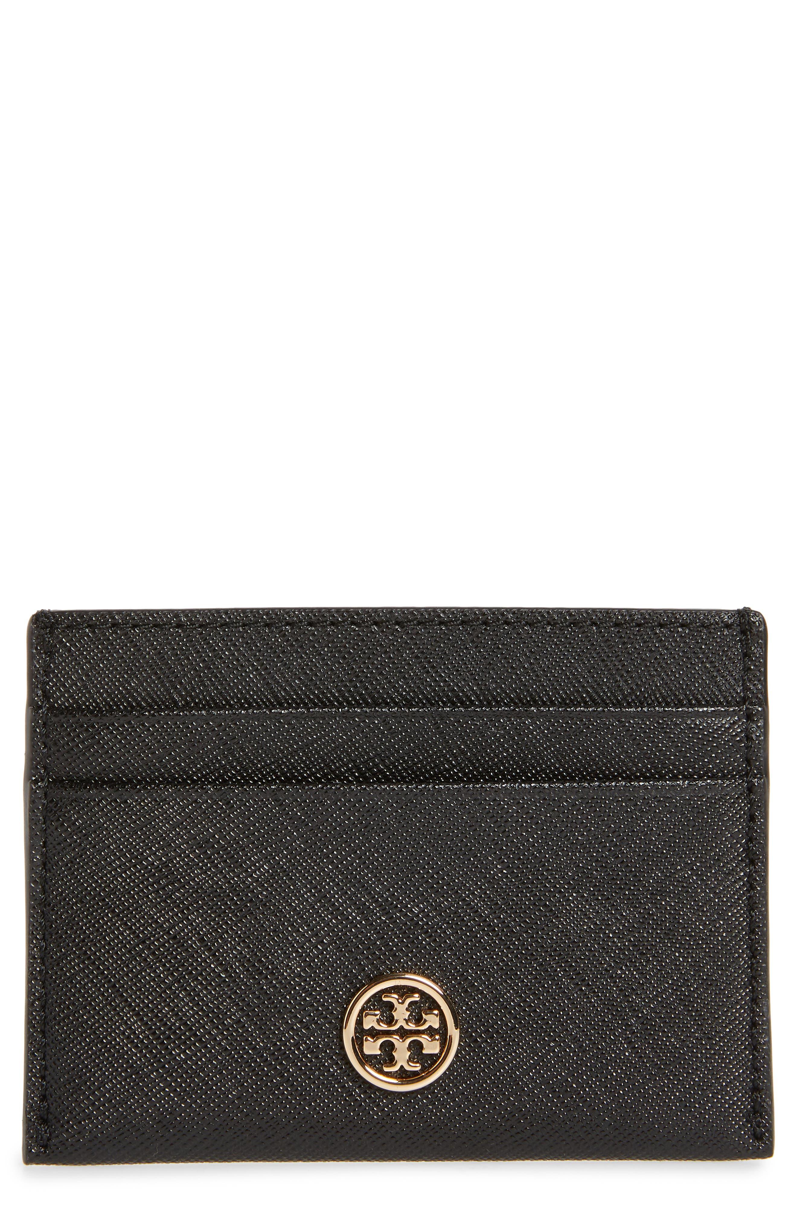 Robinson Leather Card Case,                             Main thumbnail 1, color,                             BLACK
