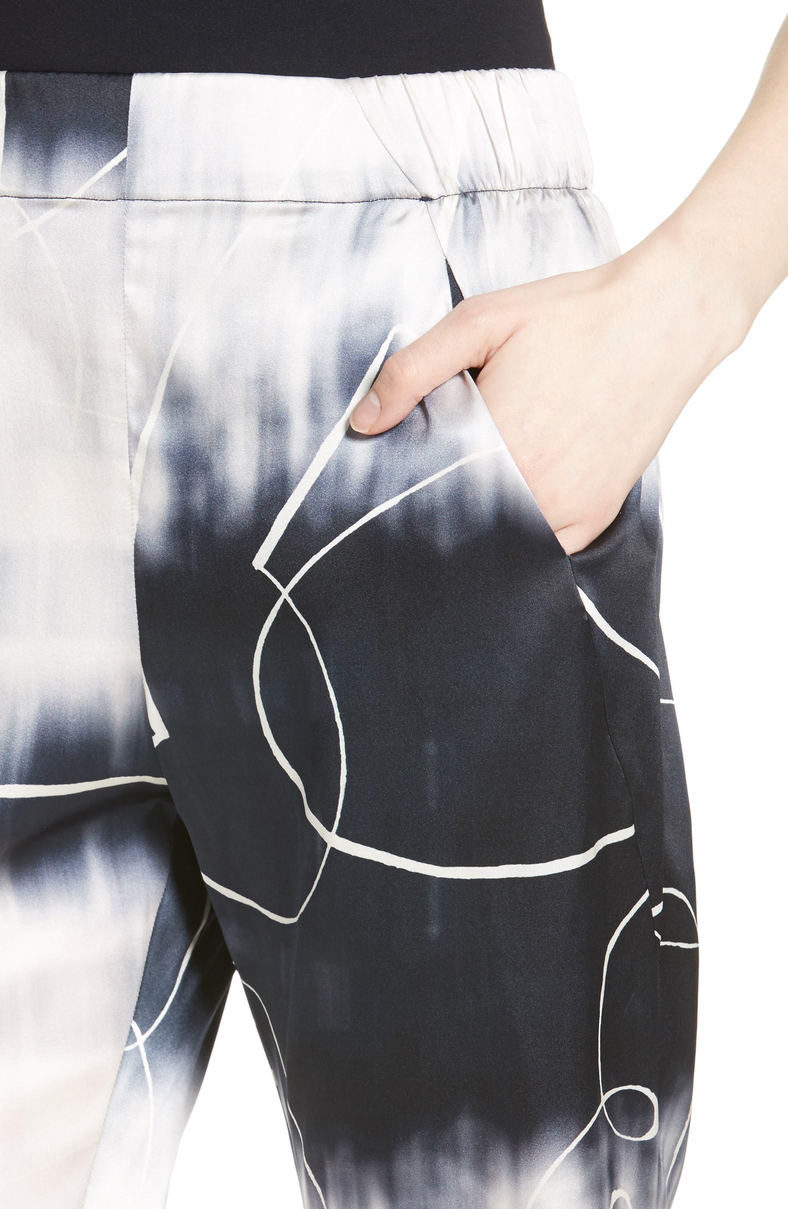 Eko Elliott X-Ray Stretch Silk Pants,                             Alternate thumbnail 4, color,                             100