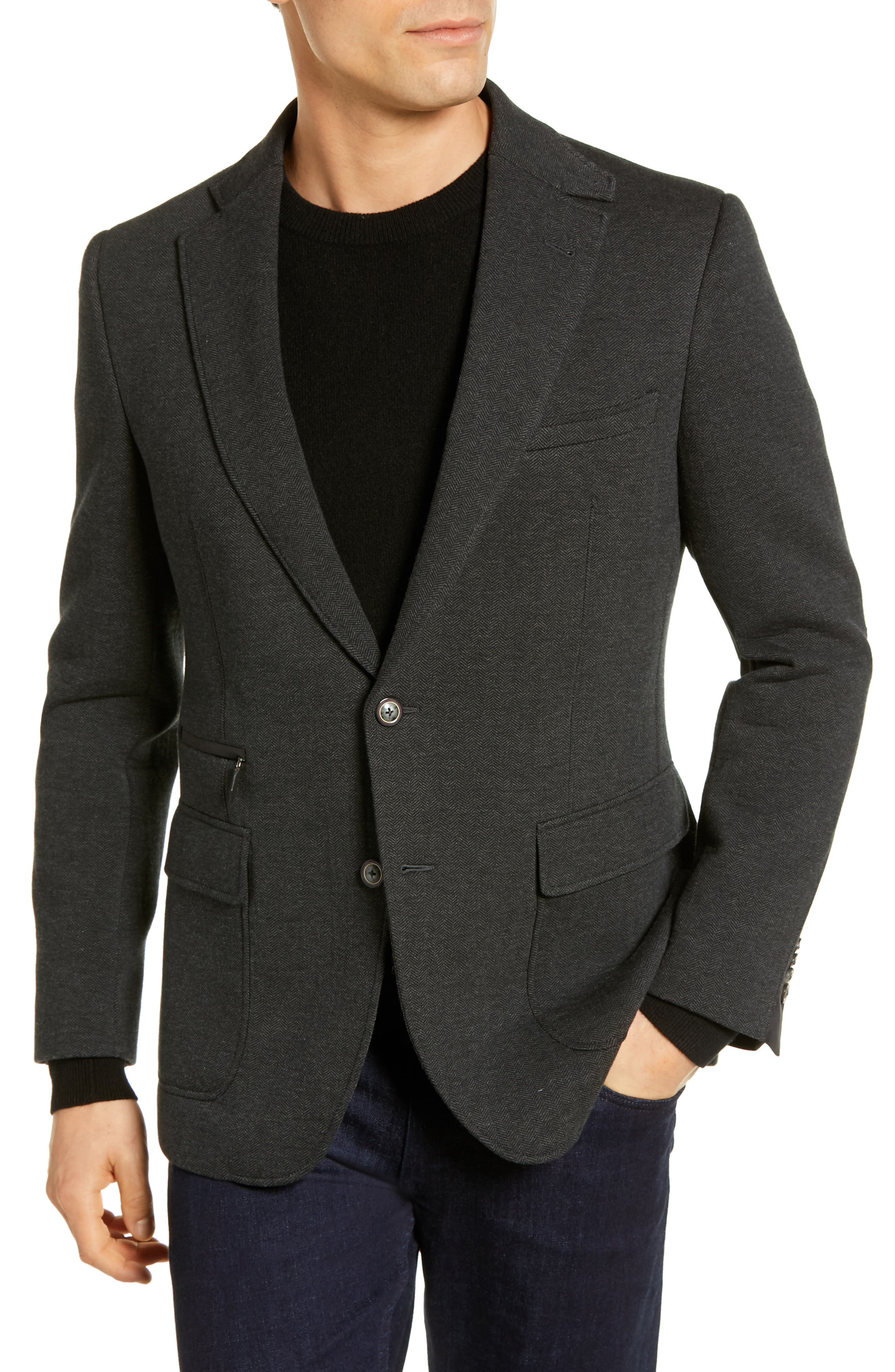 Downhill Tailored Fit Sport Coat,                             Alternate thumbnail 4, color,                             020