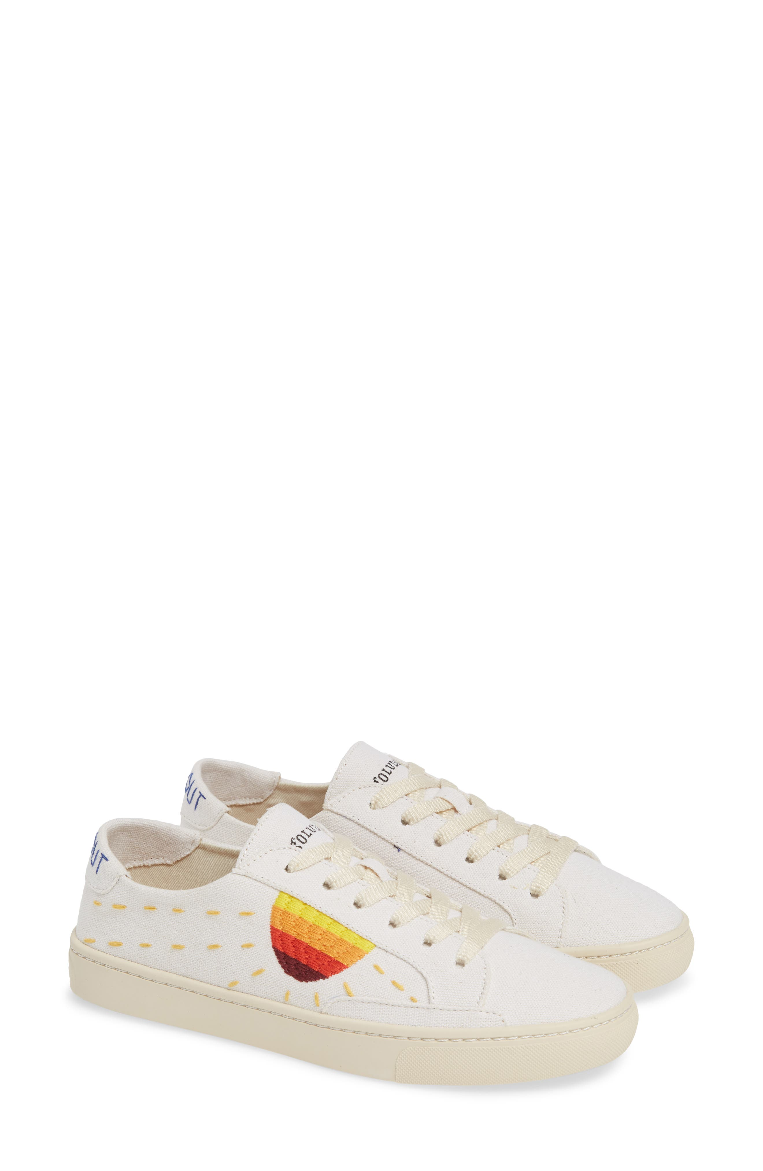 Embroidered Low Top Sneaker,                             Alternate thumbnail 2, color,                             WHITE CANVAS