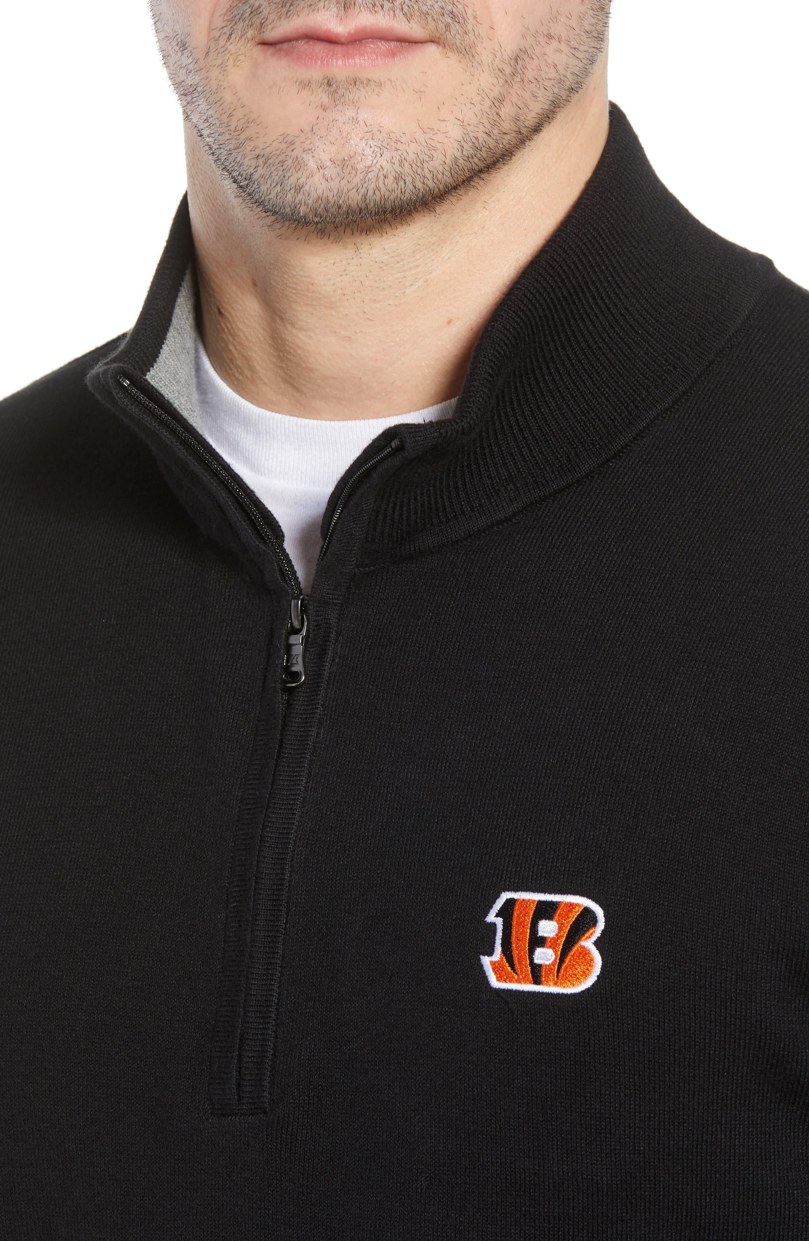 Cincinnati Bengals - Lakemont Regular Fit Quarter Zip Sweater,                             Alternate thumbnail 4, color,                             001