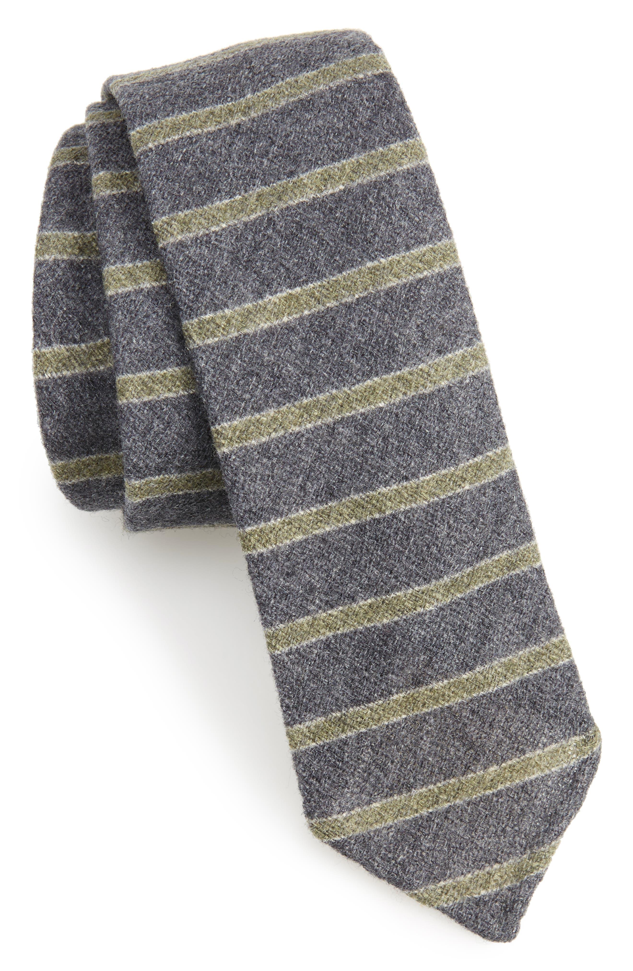 Horizontal Stripe Wool & Silk Skinny Tie,                             Main thumbnail 1, color,                             061