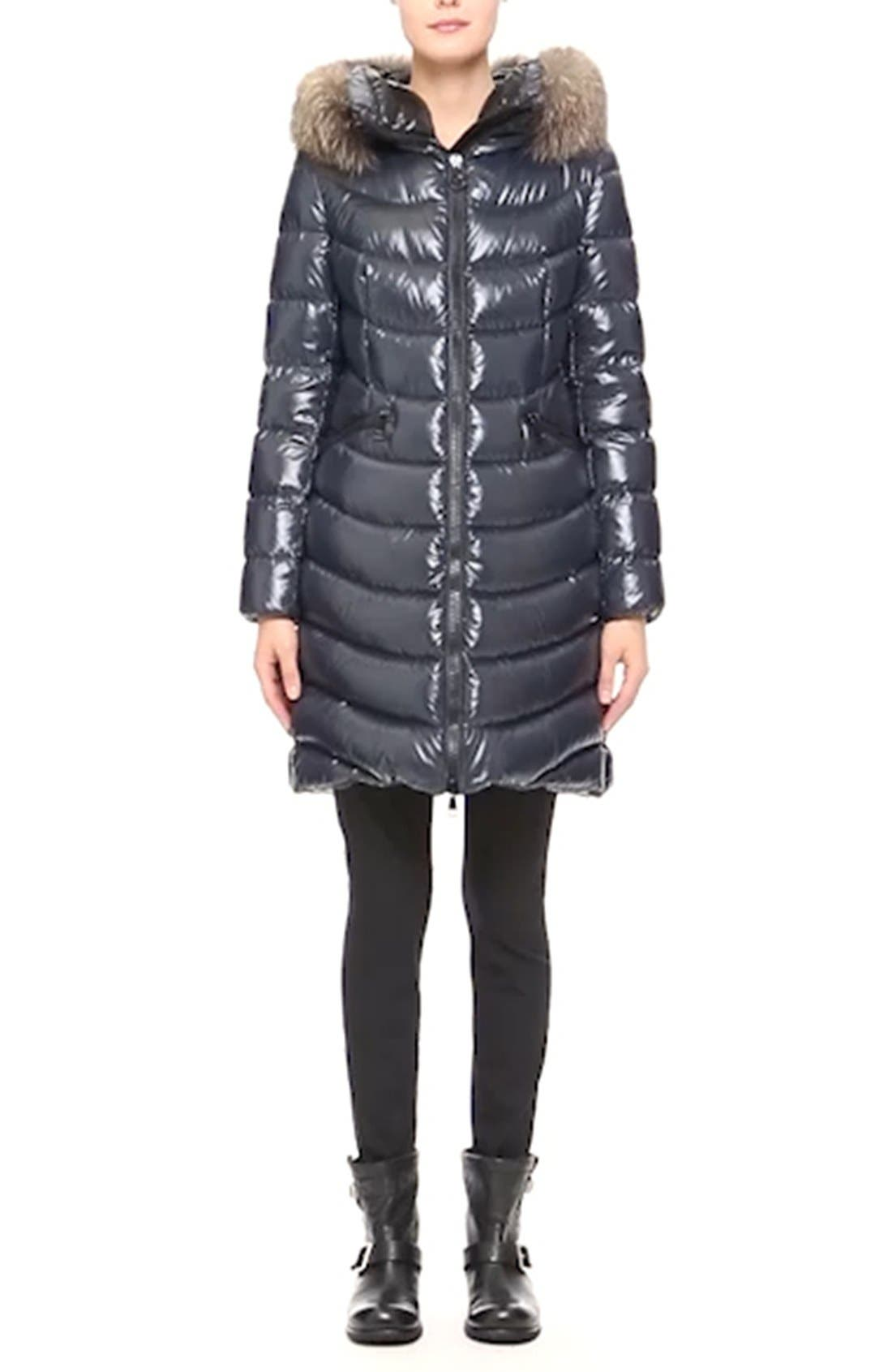 'Aphia' Water Resistant Shiny Nylon Down Puffer Coat with Removable Genuine Fox Fur Trim,                             Alternate thumbnail 4, color,                             NAVY