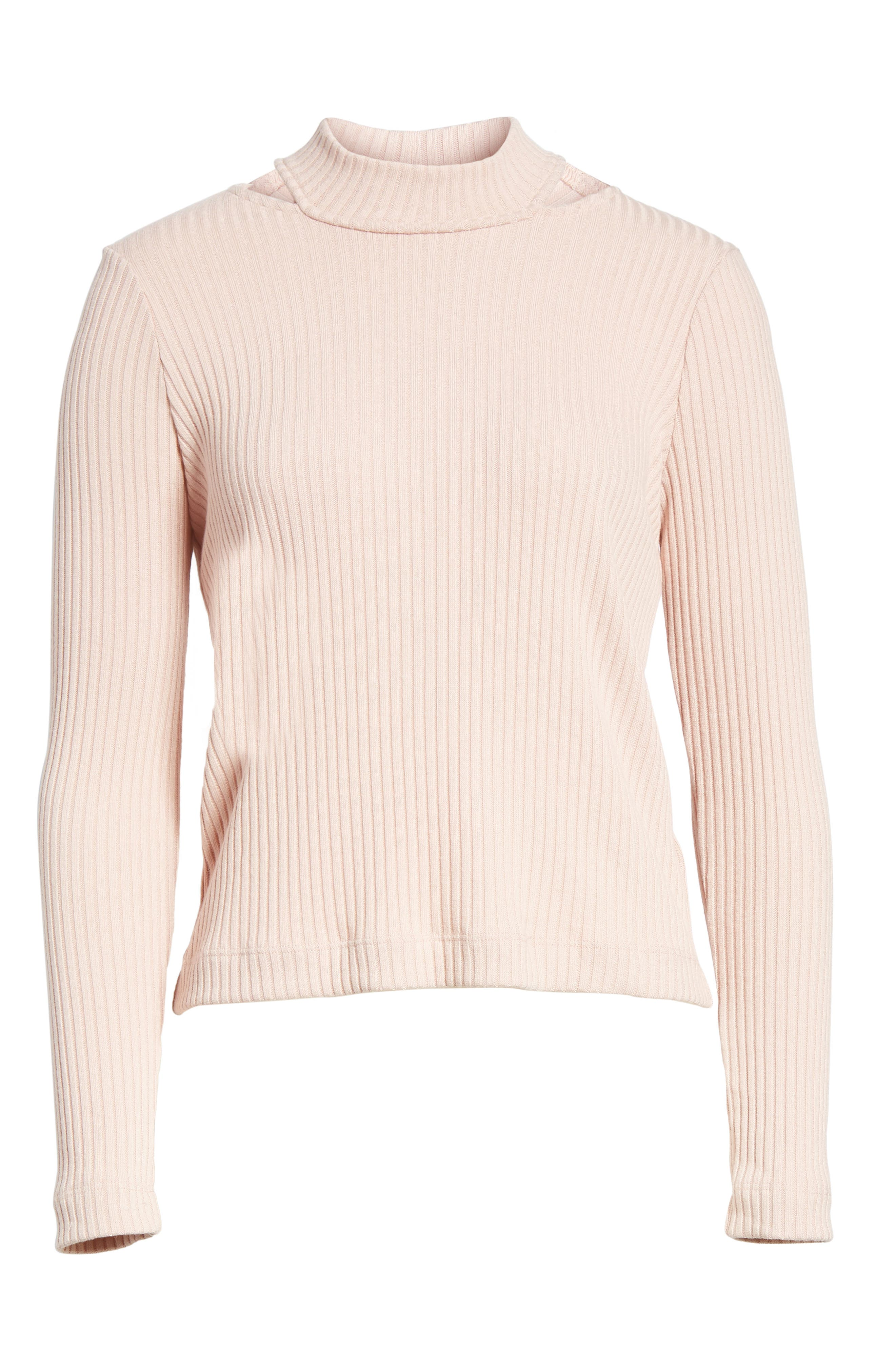 Sylvie Ribbed Mock Neck Sweater,                             Alternate thumbnail 6, color,                             688