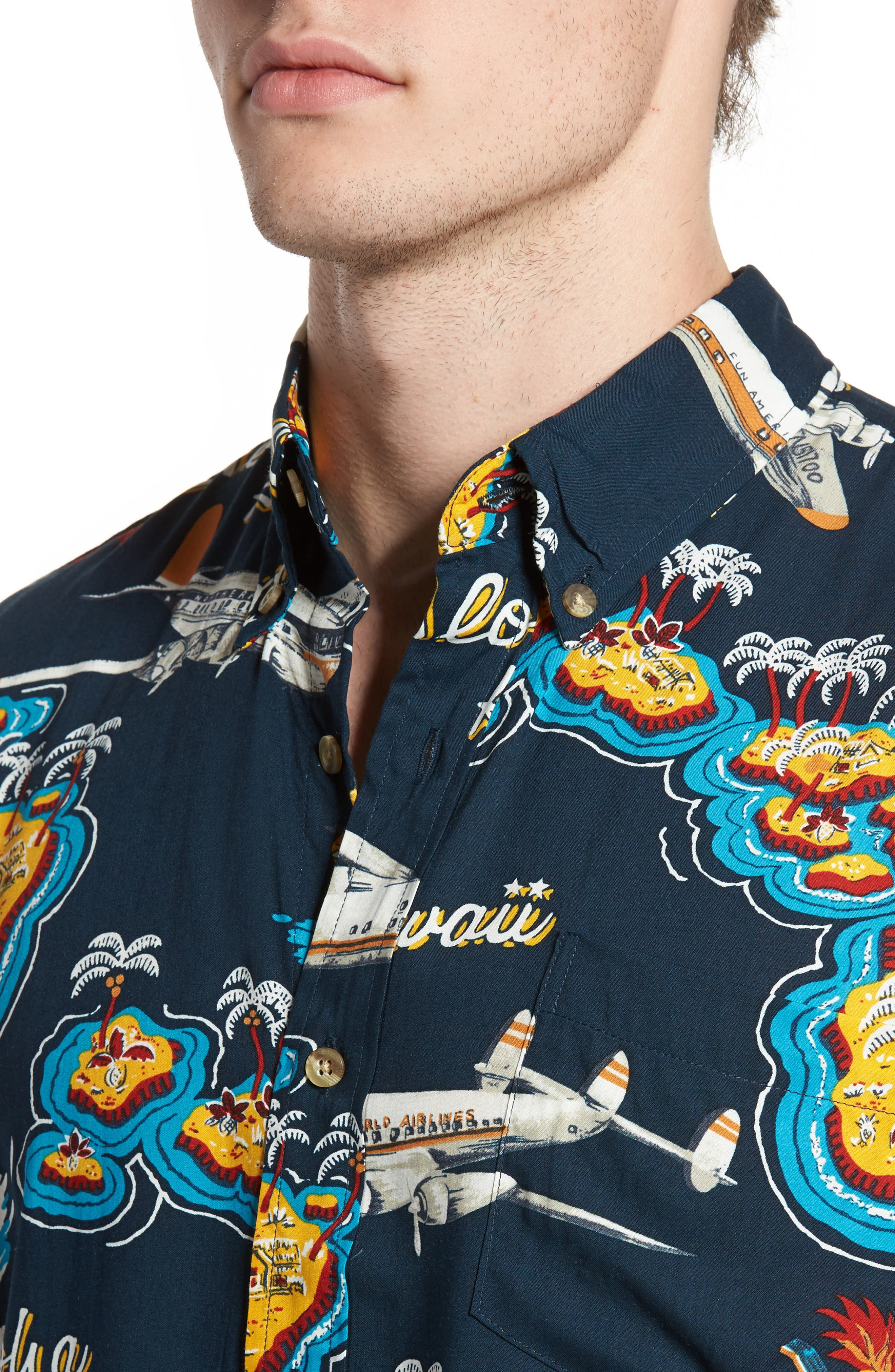 Birds in Paradise Modern Fit Shirt,                             Alternate thumbnail 4, color,                             410