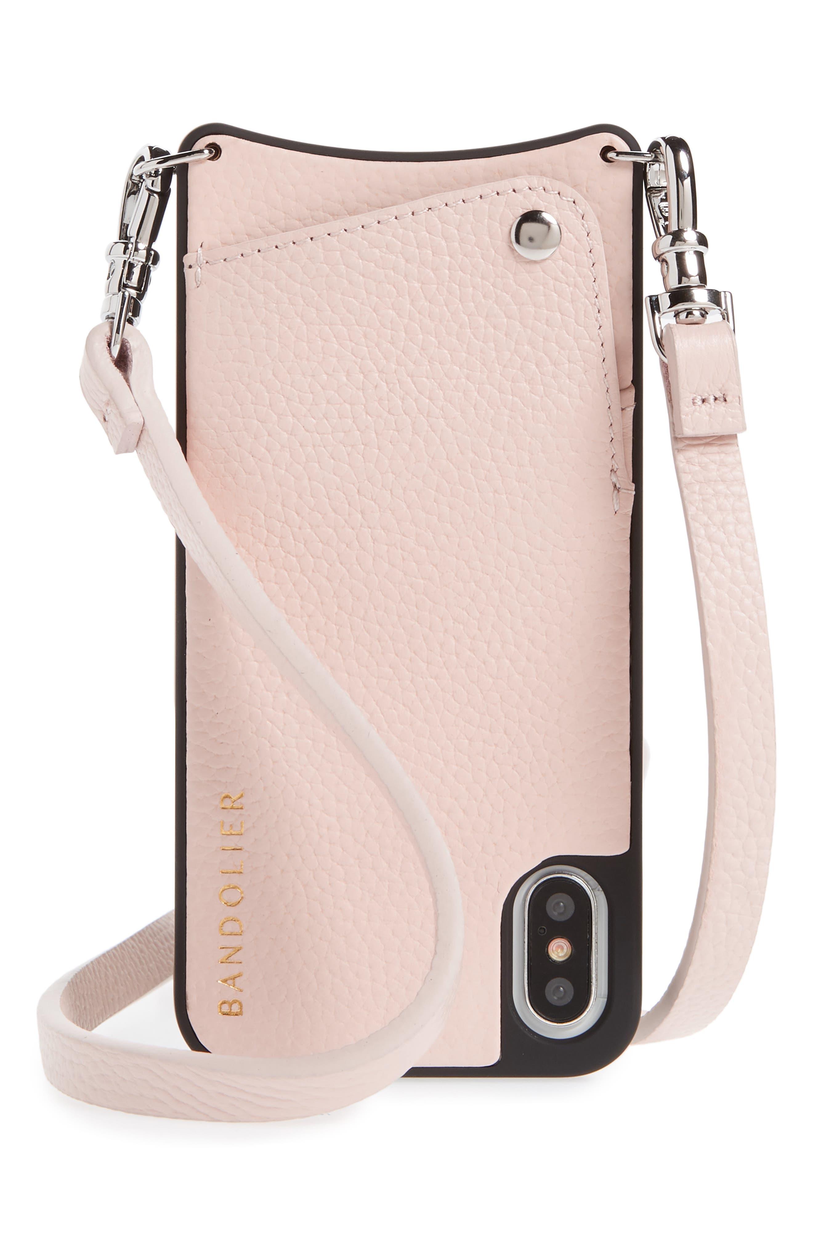 Emma iPhone X & Xs Crossbody Case,                             Main thumbnail 1, color,                             LIGHT PINK/ SILVER