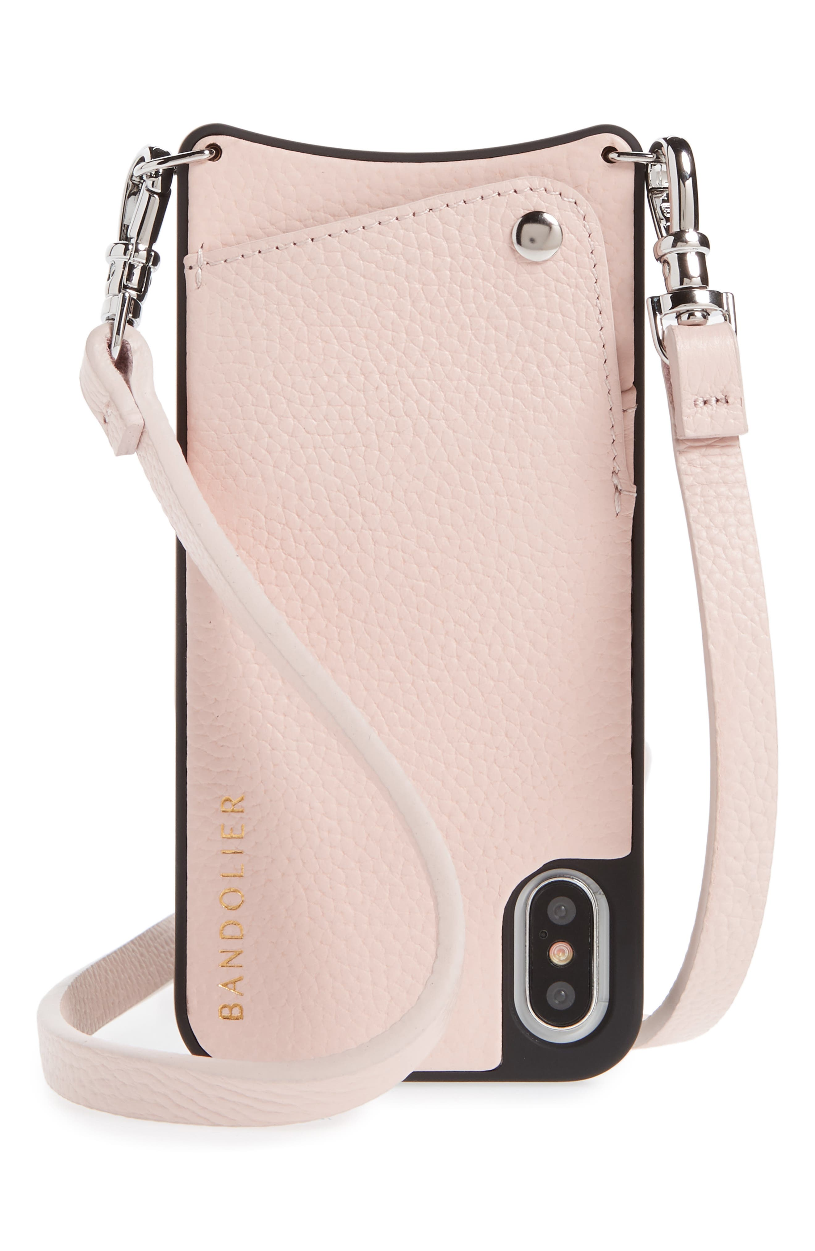 Emma iPhone X & Xs Crossbody Case,                         Main,                         color, LIGHT PINK/ SILVER