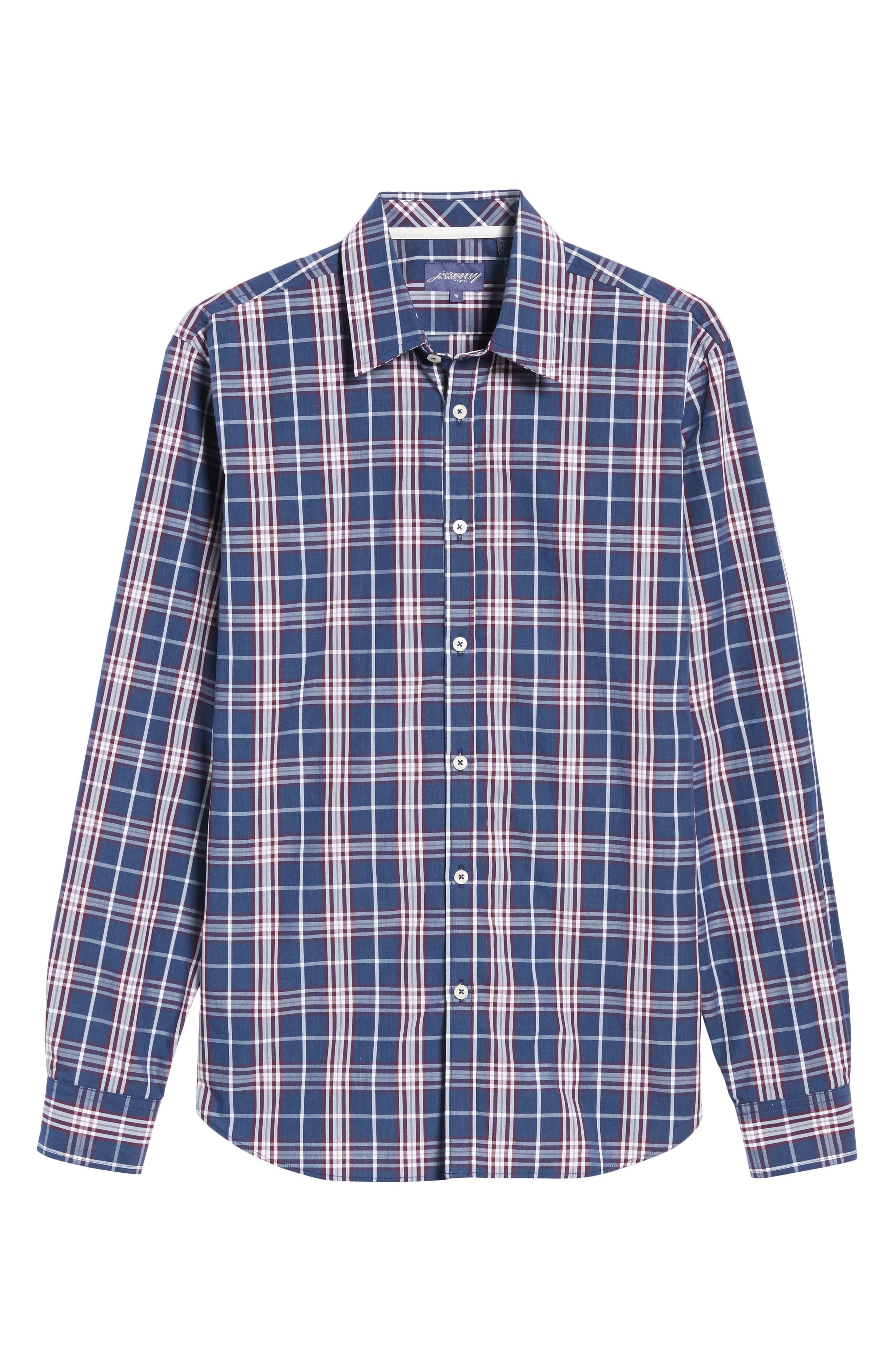 Comfort Fit Plaid Sport Shirt,                             Alternate thumbnail 6, color,