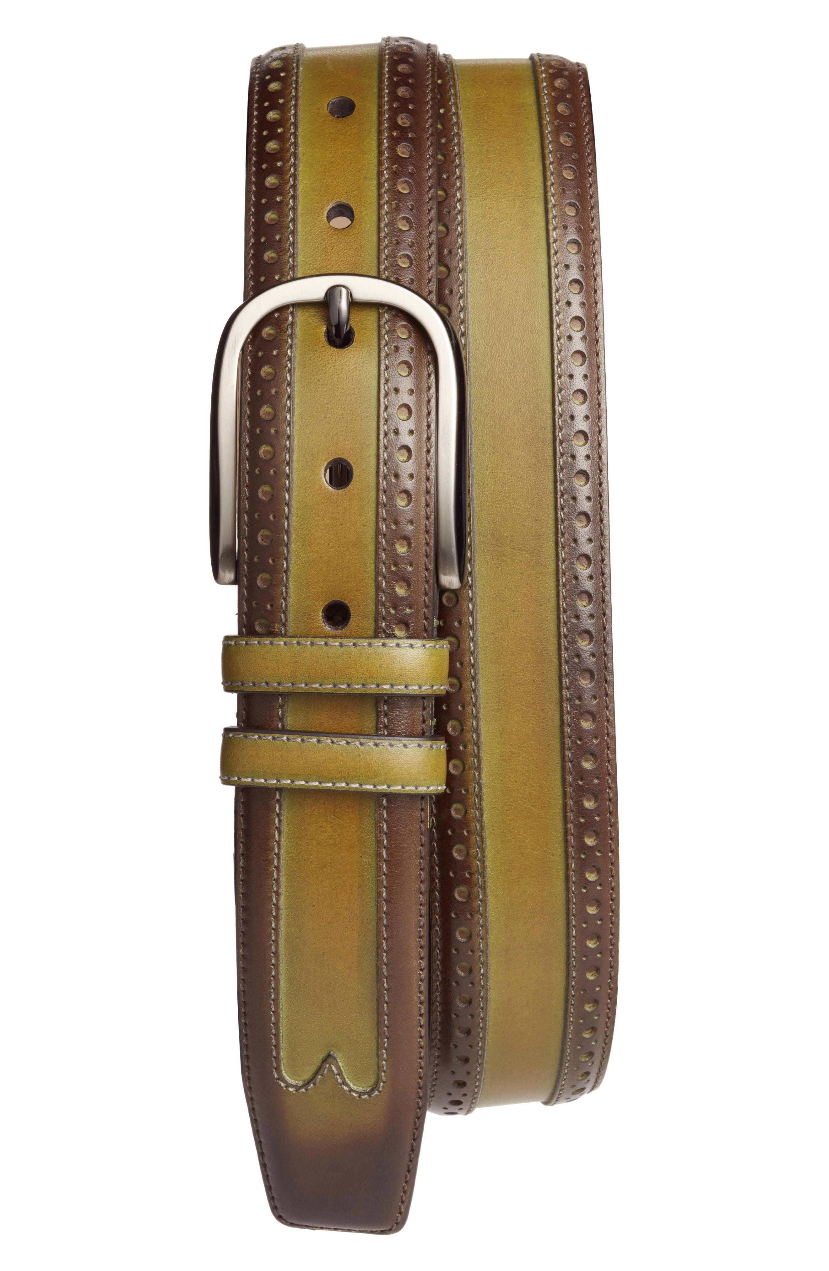 Leather Belt,                             Main thumbnail 1, color,                             OLIVE