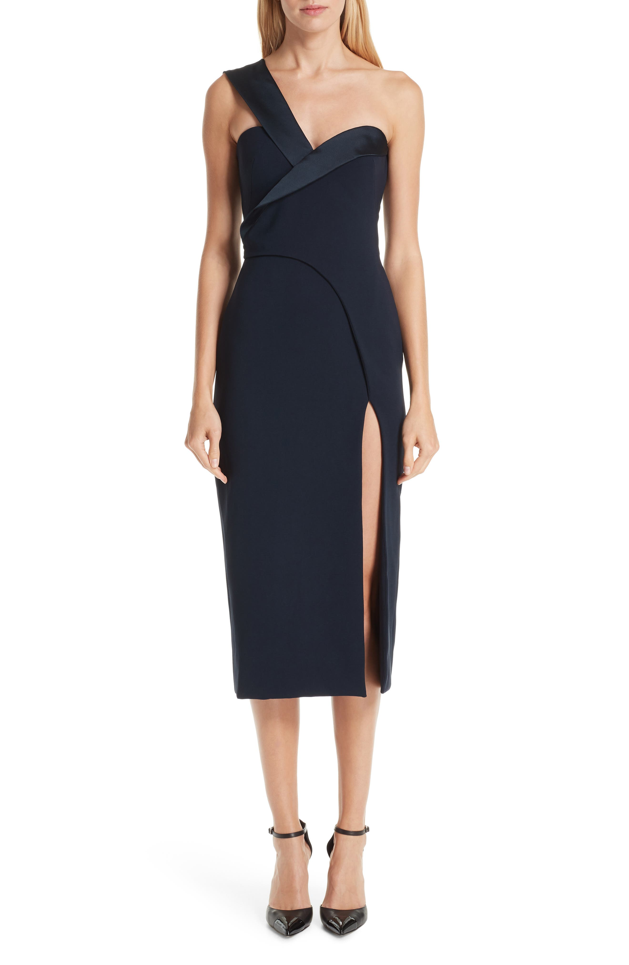 Fold Over One-Shoulder Dress,                             Main thumbnail 1, color,                             NAVY