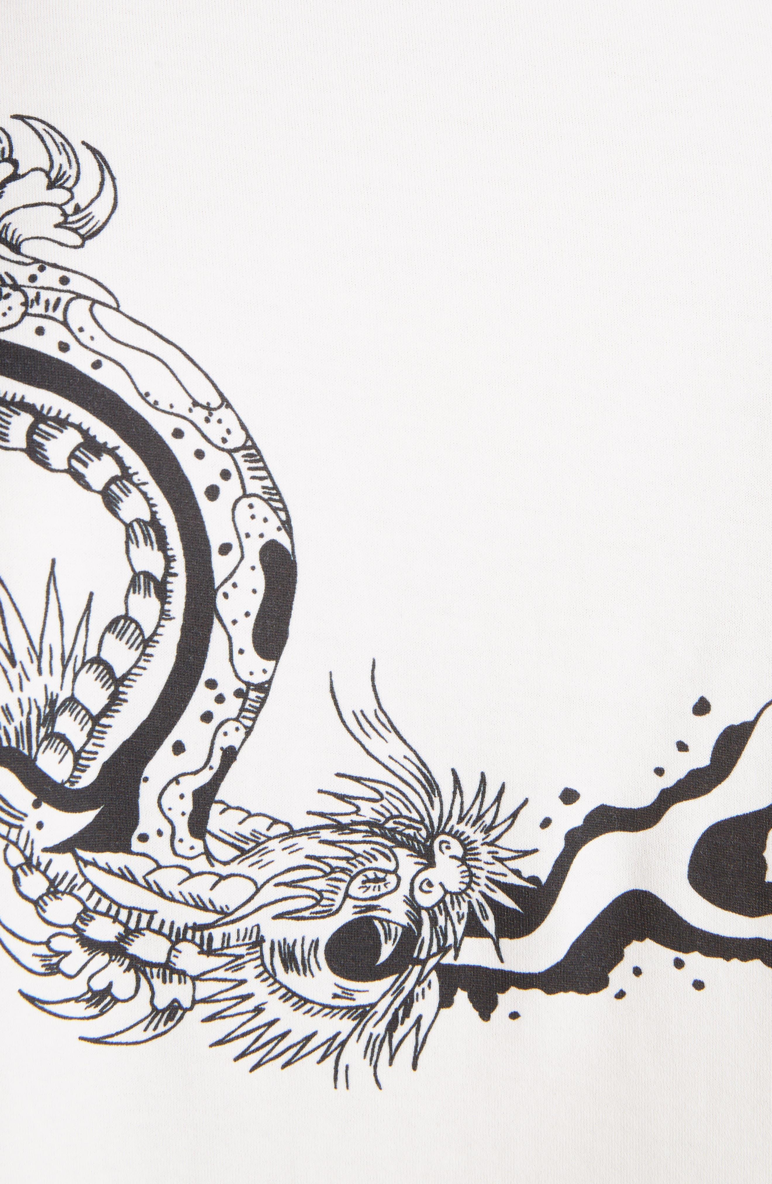 Dragon Print T-Shirt,                             Alternate thumbnail 5, color,                             OFF WHITE